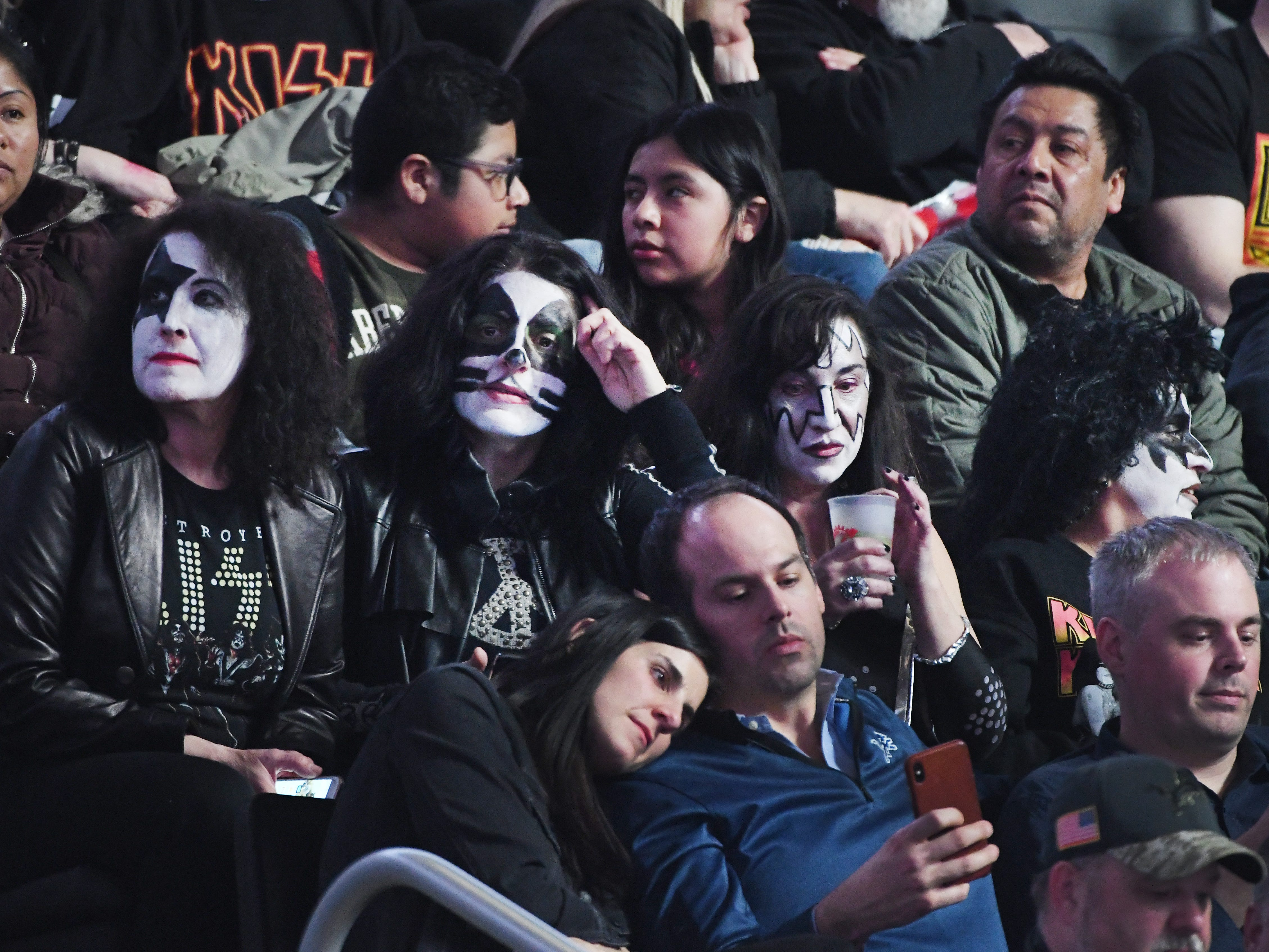 The whole band showed up in the seat at LCA as KISS fans wait for the start of the concert.