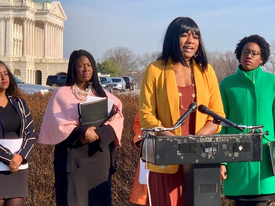 On Capitol Hill, Christina Hayes of Dearborn speaks about the Healthy Families Act, a bill in Congress to require paid sick leave for workers.