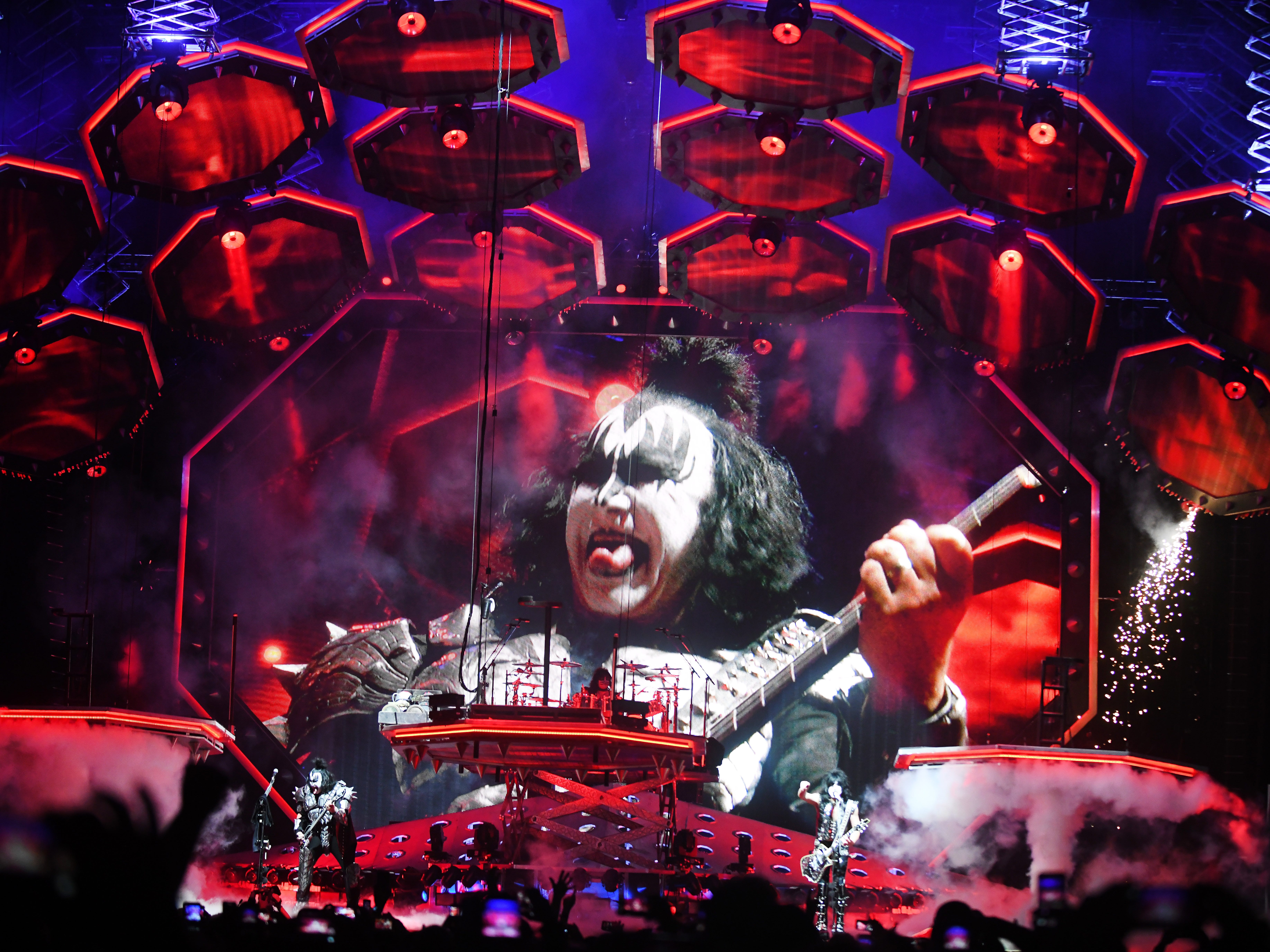 KISS 'End of the Road' tour with original members Gene Simmons on bass and Paul Stanley lead vocals along with Tommy Thayer on lead guitar and Eric Singer on drums play Little Caesars Arena in Detroit, Michigan on March 13, 2019.