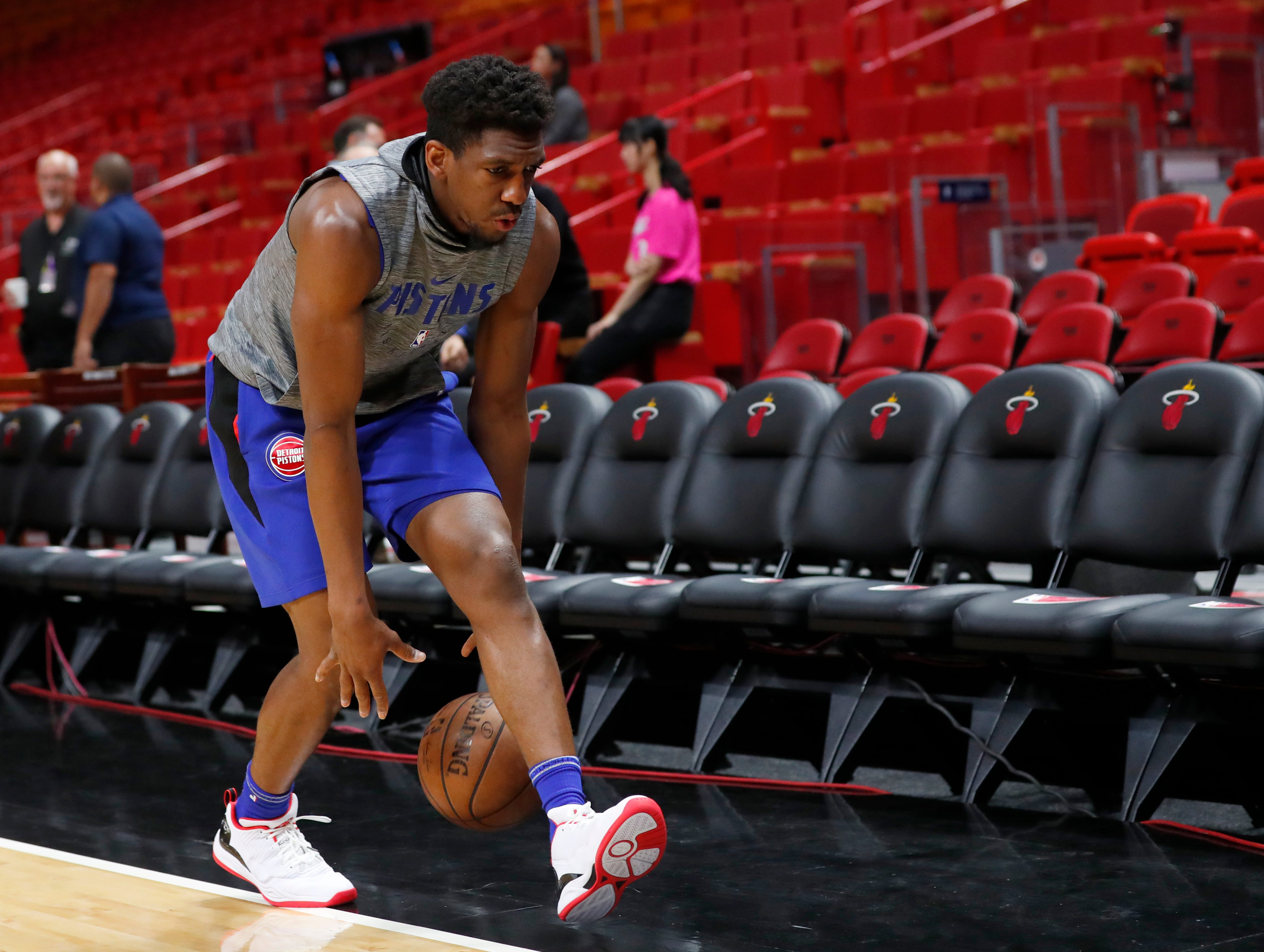 Detroit Pistons guard Langston Galloway warms up before the start of an NBA basketball game against the Miami Heat.