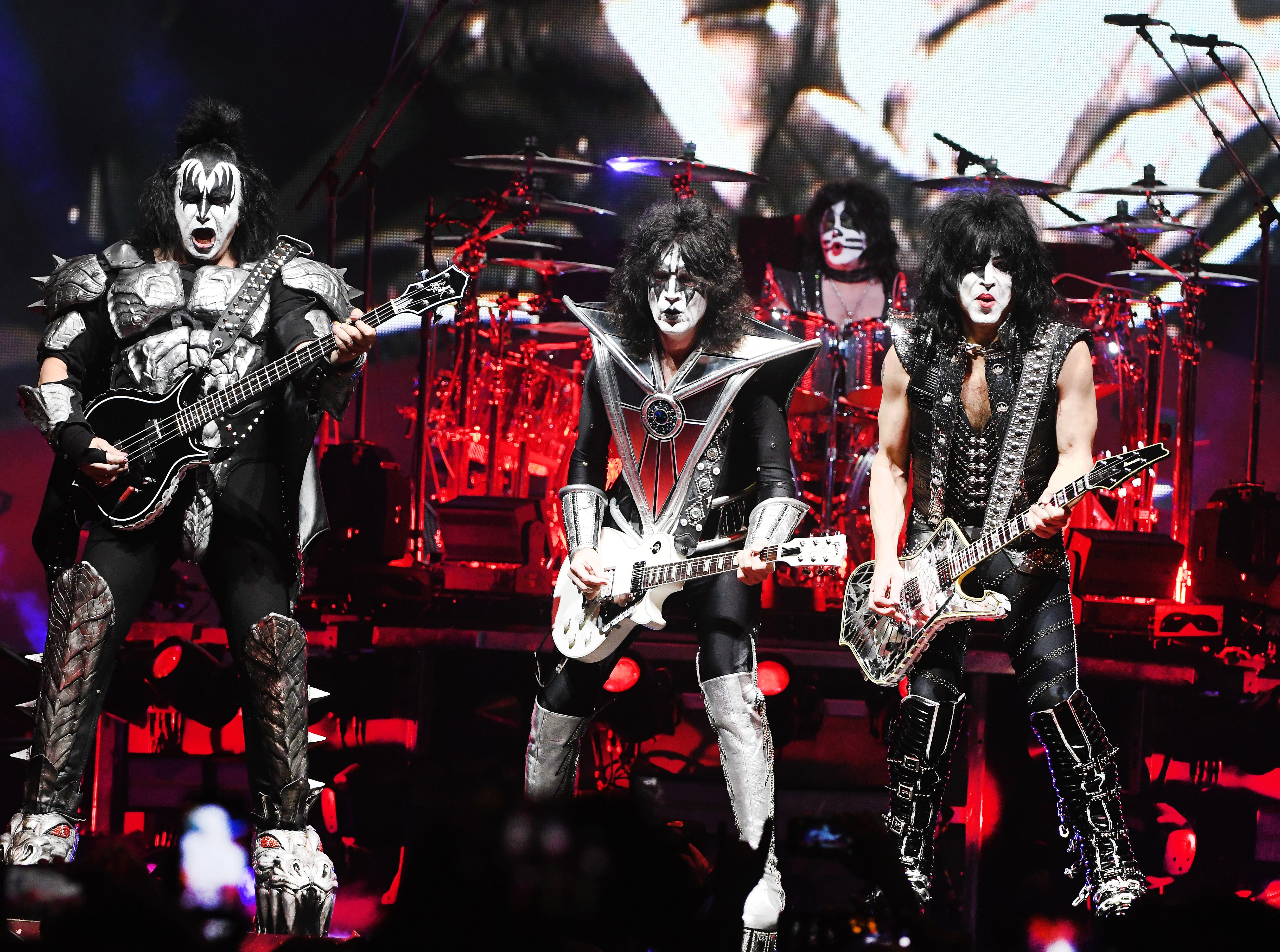 KISS 'End of the Road' tour with original members Gene Simmons on bass and Paul Stanley lead vocals along with Tommy Thayer on lead guitar and Eric Singer on drums play Little Caesars Arena in Detroit, Michigan on March 13, 2019.  (Image by Daniel Mears / The Detroit News)