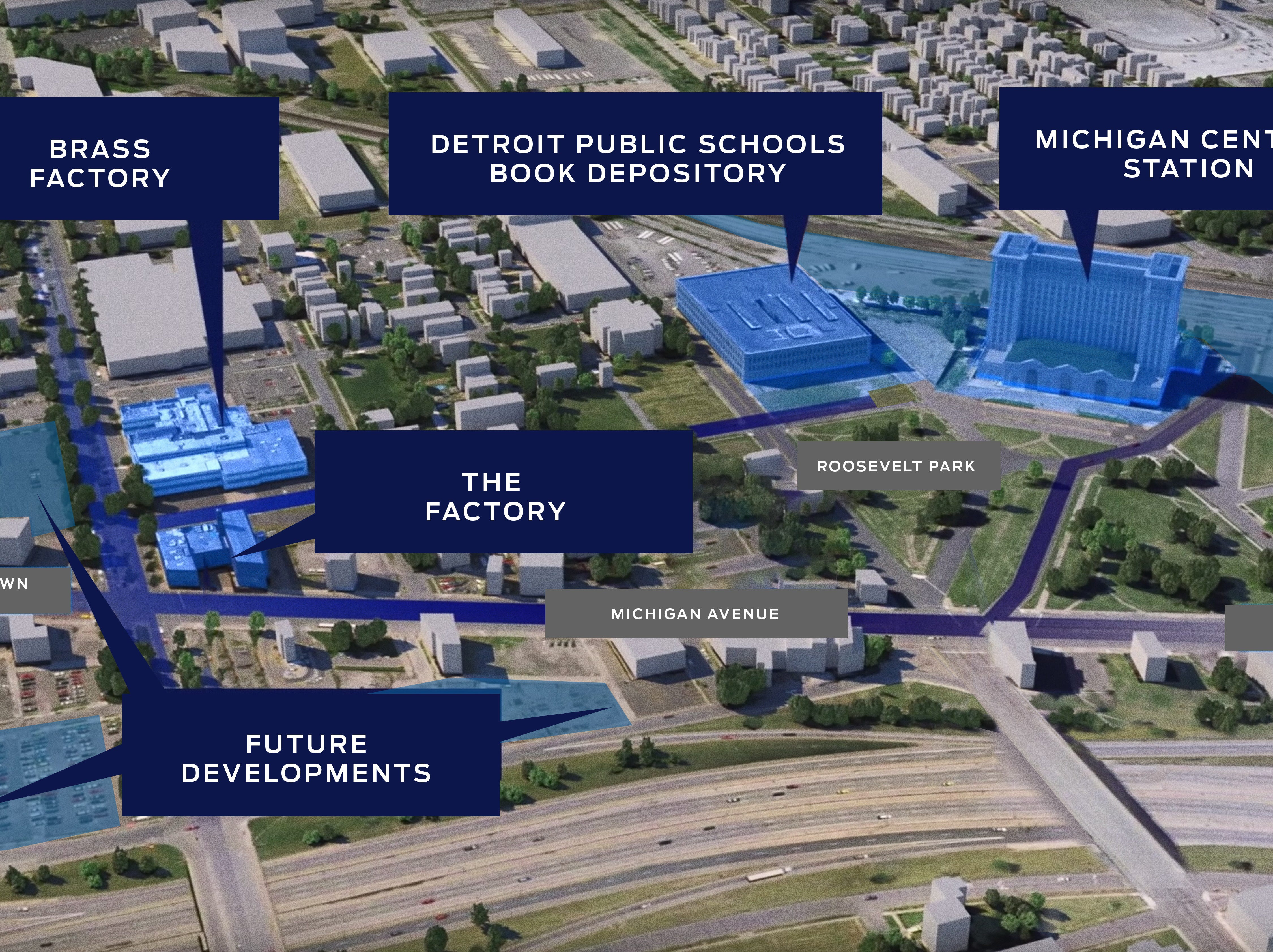 Ford's Corktown development map includes existing buildings near the Michigan Central Station as well as several vacant plots.