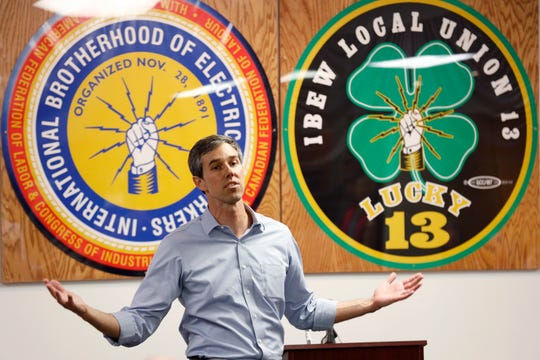 Former Texas congressman Beto O'Rourke speaks at the International Brotherhood of Electrical Workers Local 13 hall, Thursday, March 14, 2019, in Burlington, Iowa.