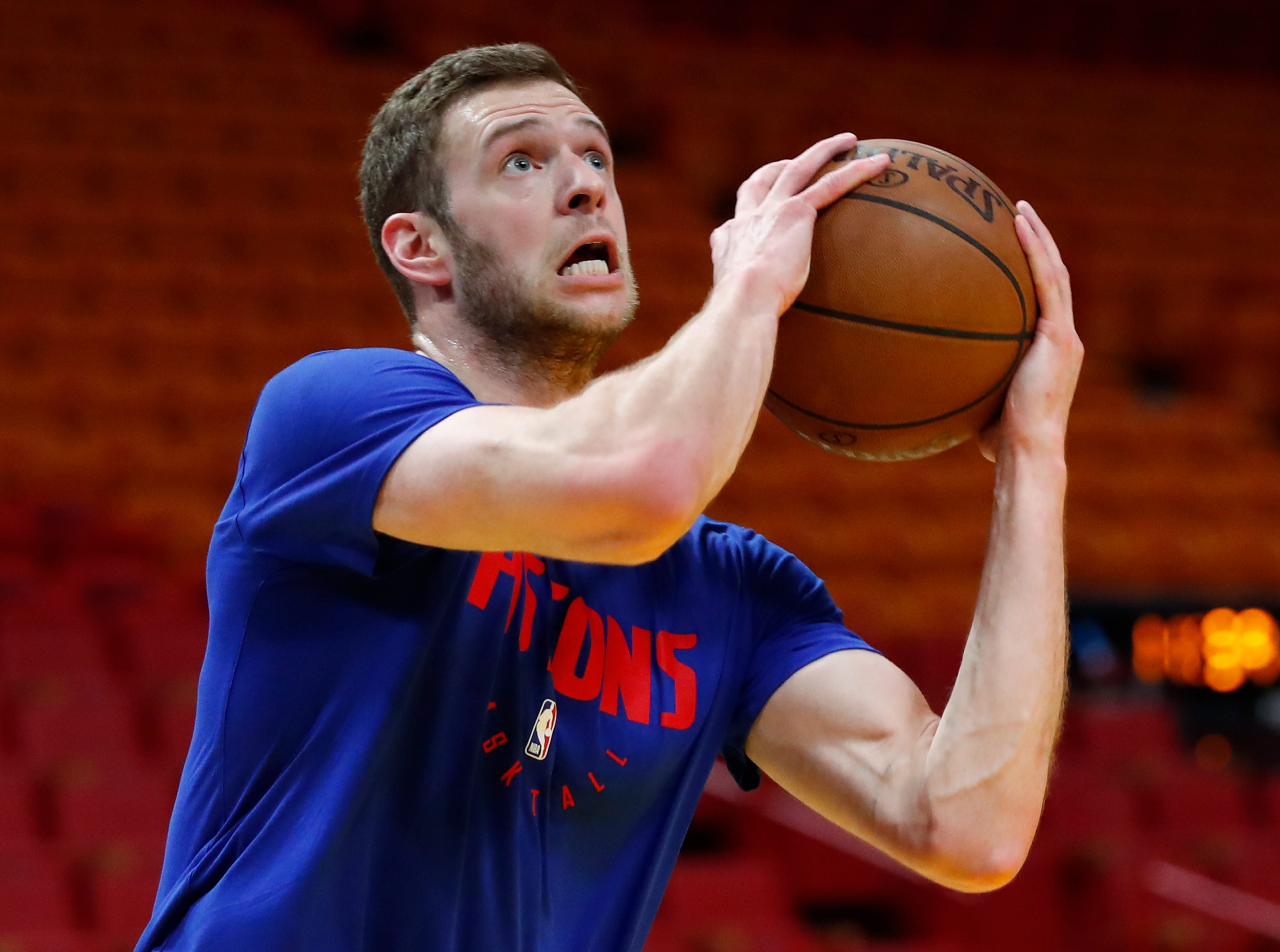 Detroit Pistons forward Jon Leuer warms up before the start of an NBA basketball game against the Miami Heat.