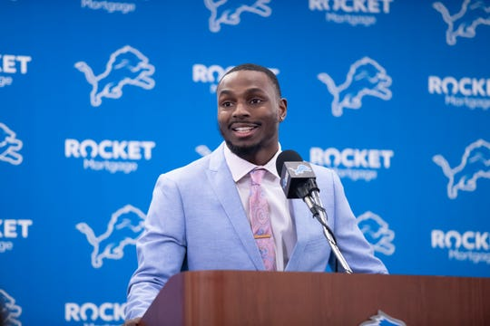 Cornerback Justin Coleman talks to the media during a news conference Thursday at the Detroit Lions training facility in Allen Park.