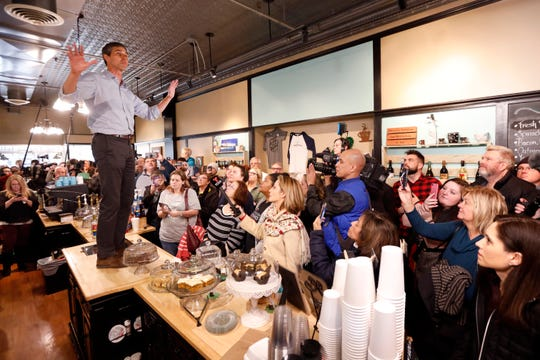 Former Texas congressman Beto O'Rourke speaks to local residents during a meet and greet at the Beancounter Coffeehouse & Drinkery, Thursday, March 14, 2019, in Burlington, Iowa. O'Rourke announced Thursday that he'll seek the 2020 Democratic presidential nomination.