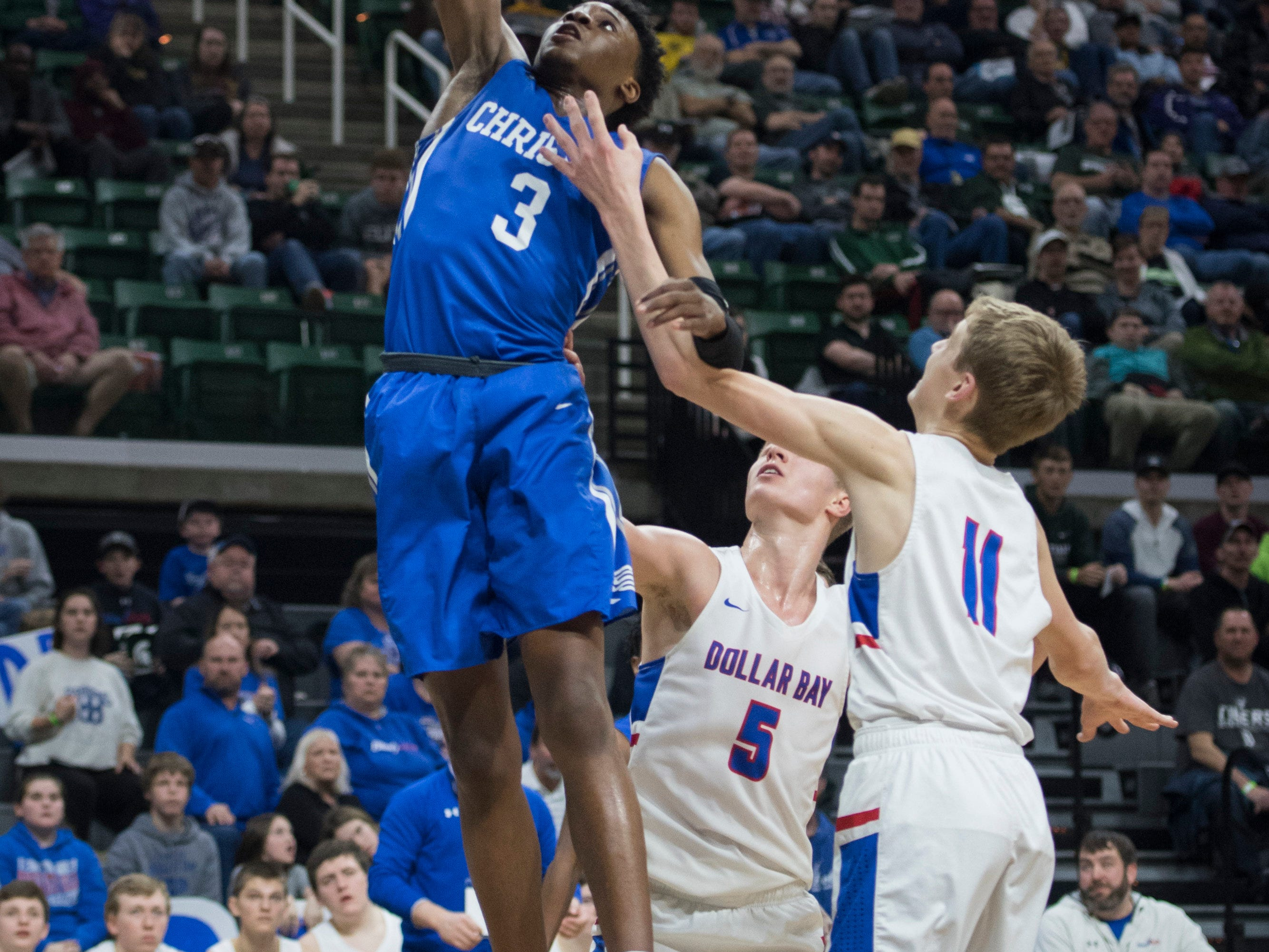 Southfield ChristianÕs DaÕJion Humphrey shoots the ball in the first half. *** Southfield Christian versed Dollar Bay in the MHSAA Div. 4 semifinals at Breslin Center in East Lansing on Thursday, March 14, 2019. (Nic Antaya, Special to The Detroit News)