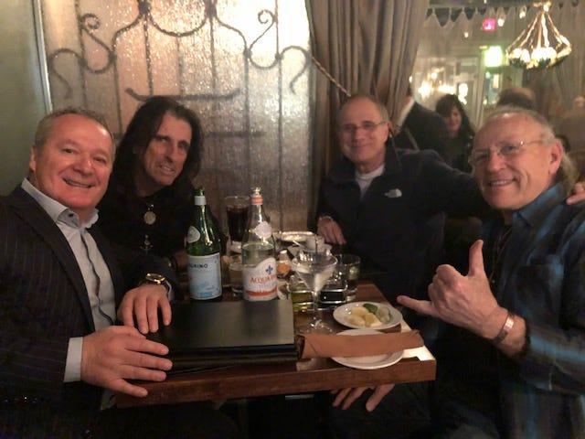 From left, Bella Piatti owner, Nino Cutraro with legendary rocker Alice Cooper, music producer Bob Ezrin, and Mark Farner from Grand Funk Railroad.