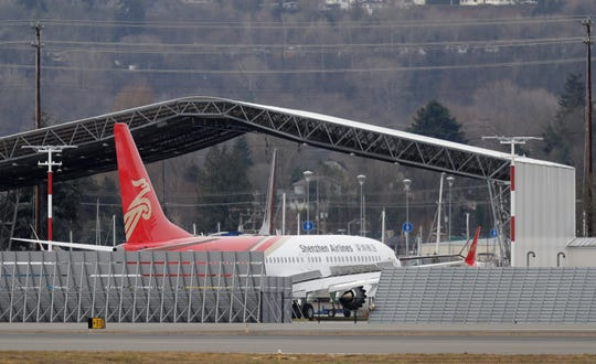 A brand new Shenzhen Airlines Boeing 737 MAX 8 airplane sits parked at Boeing Field, Thursday, March 14, 2019, in Seattle.