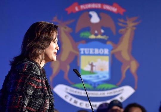 Michigan Governor Gretchen Whitmer speaks from the podium.