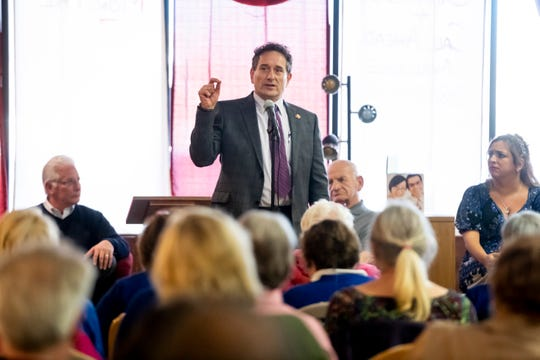 U.S. Rep. Andy Levin speaks during a community forum held by the Warren Area Democratic Club at the Hometown Heroes Coffee and More restaurant in Center Line, March 14, 2019.