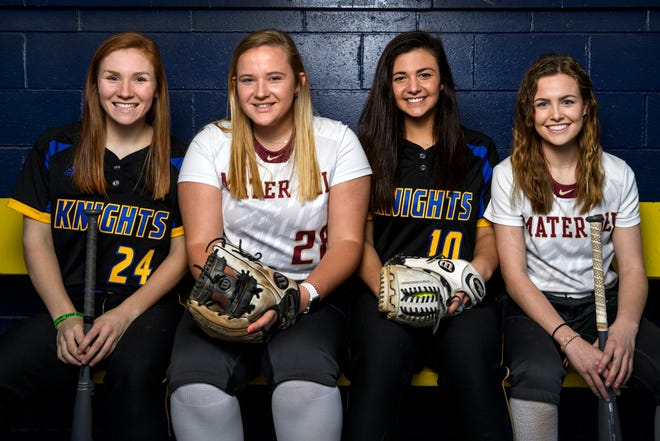 Softball players Hannah Hood, from left, Allie Goodin, Jenna Lis, and Kendyl Weinzapfel have plans to advance to the college level following their senior seasons at Castle and Mater Dei High Schools this spring.
