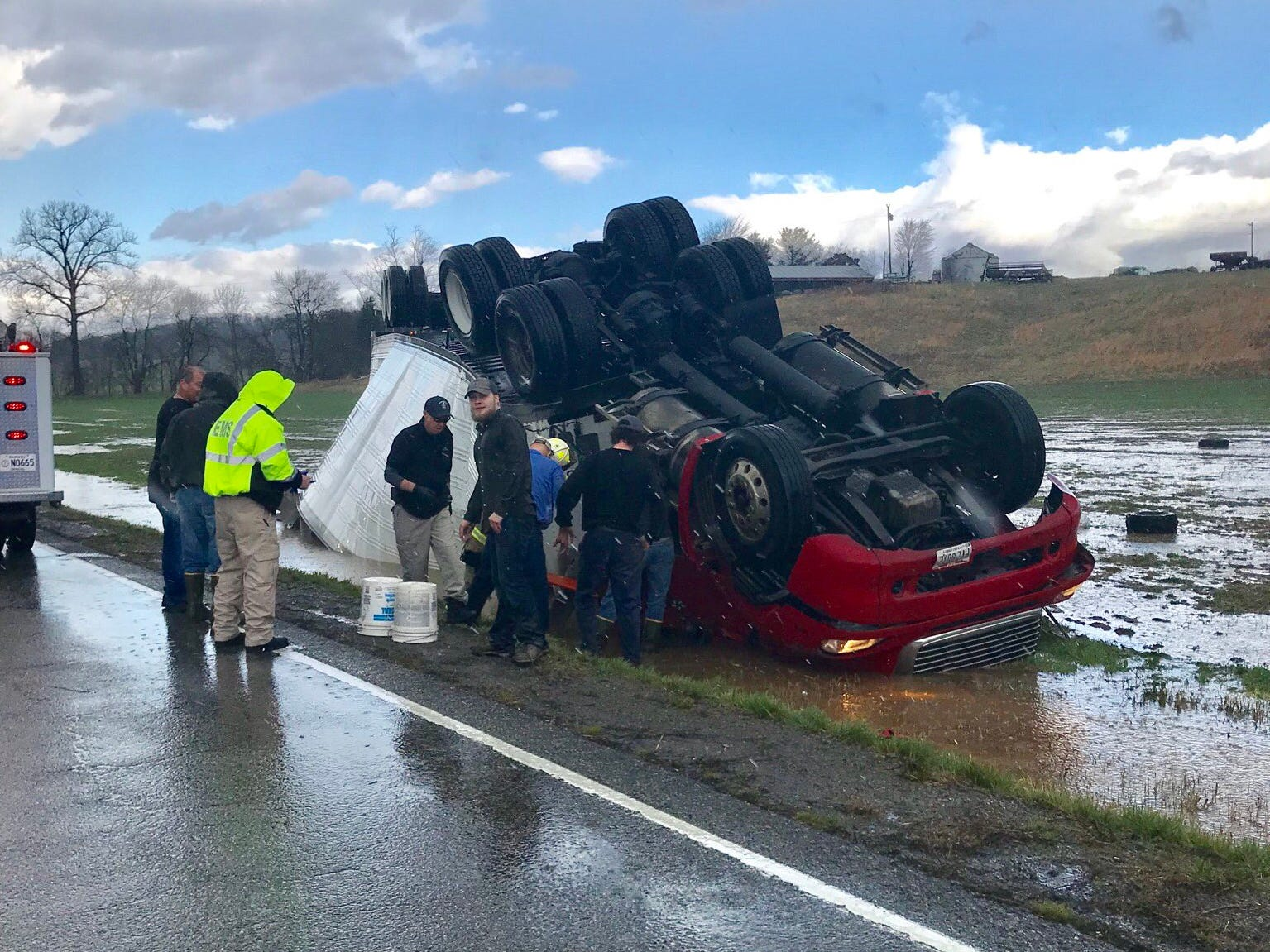 A semi was flipped by wind during severe weather in Union County Wednesday morning.