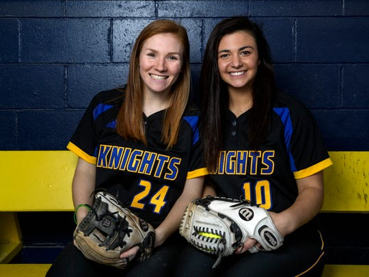 Castle seniors Hannah Hood, left, and Jenna Lis, right, have been playing softball together since they were in elementary school. After graduating in May 2019, they will continue playing together on the University of Evansville's softball team.