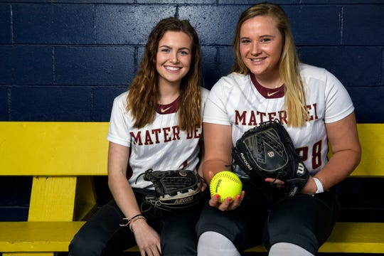 Mater Dei seniors Kendyl Weinzapfel, left, and Allie Goodin, right, at Lockyear Field in Newburgh, Ind., Wednesday, March 13, 2019.