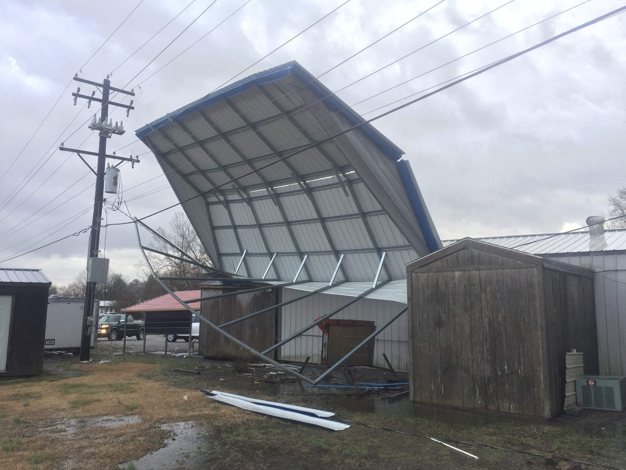 Damage seen at the Eagle Buildings on US 60 in Waverly, Kentucky. NKU officials are on the scene trying to deal with power issues caused by the damage.