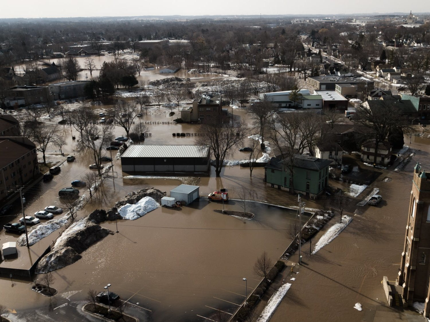 Flooding from the Fond du Lac River spread from Western Avenue down to Military Road Thursday, March 14 in Fond du Lac. This photo was captured with a drone at about 11 a.m.