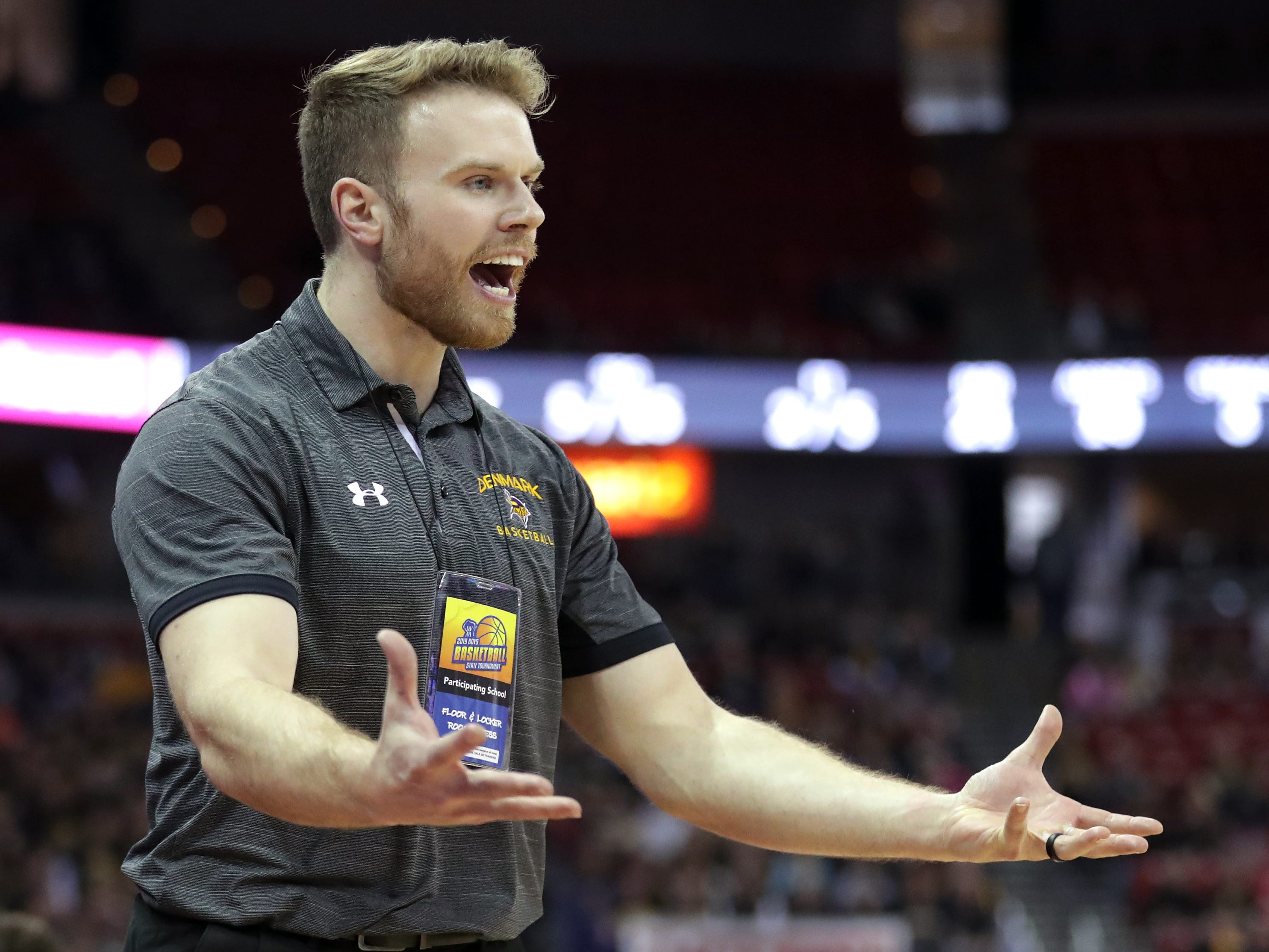 Denmark High School's head coach Cody Stelmach against Waupun High School during their WIAA Division 3 boys basketball state semifinal on Thursday, March 14, 2019, at the KohlCenter in Madison, Wis.  Waupun defeated Denmark 60 to 43.