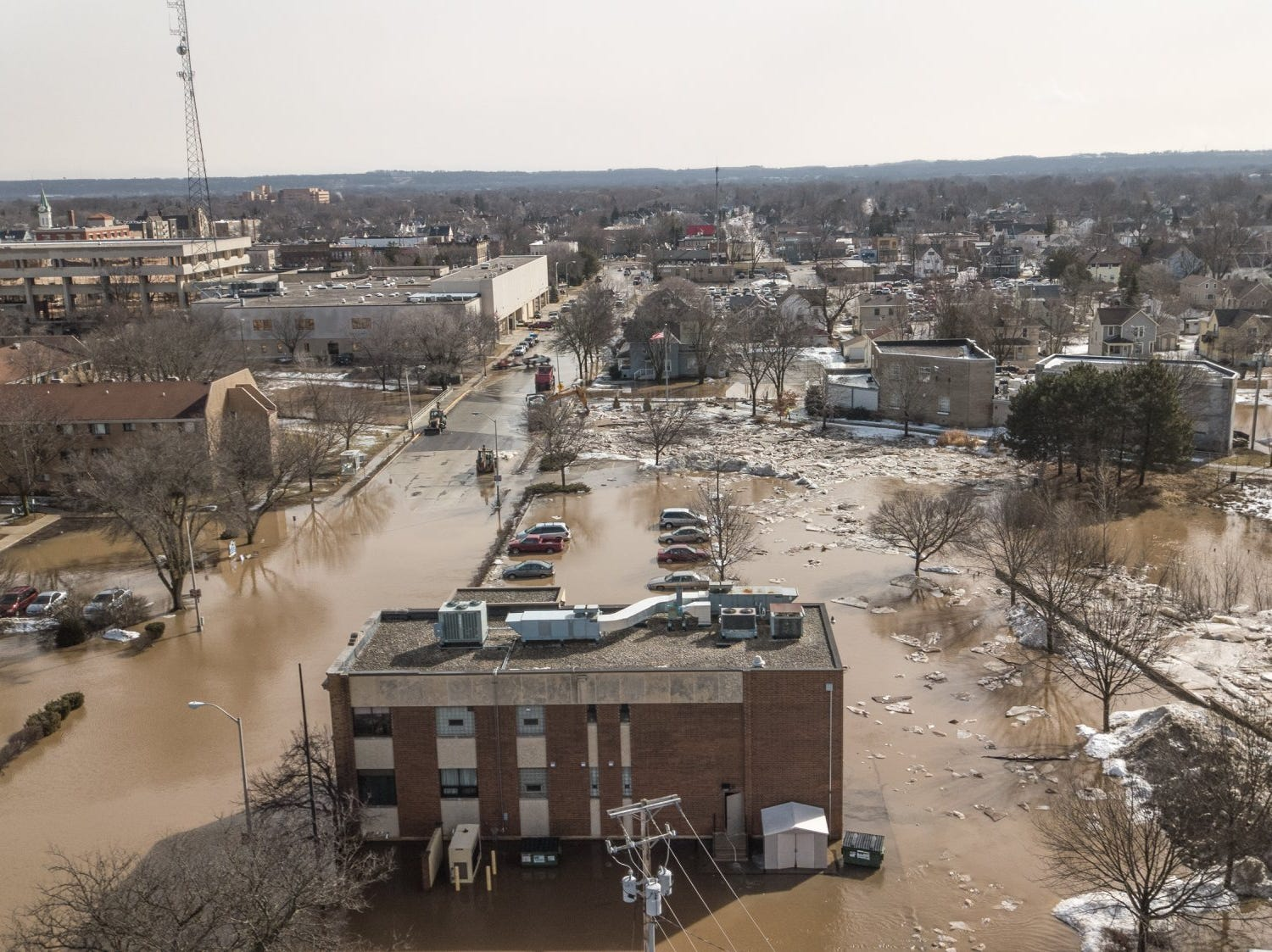 The Western Avenue is flooded after ice jams on the Fond du Lac River on Thursday, March 14. This photo was taken by drone at about 11 a.m.