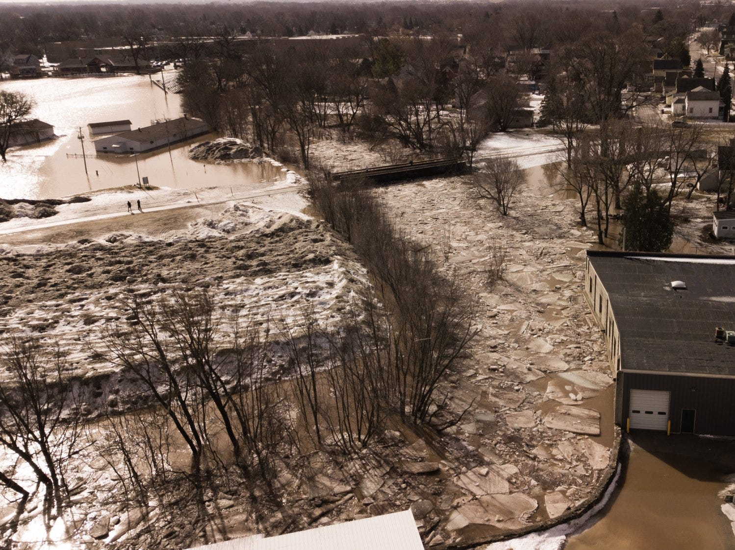 The view above the area affected by flooding at about 11 a.m. on Thursday, March 14 as taken by drone. This photo was taken south of Fruth Field.