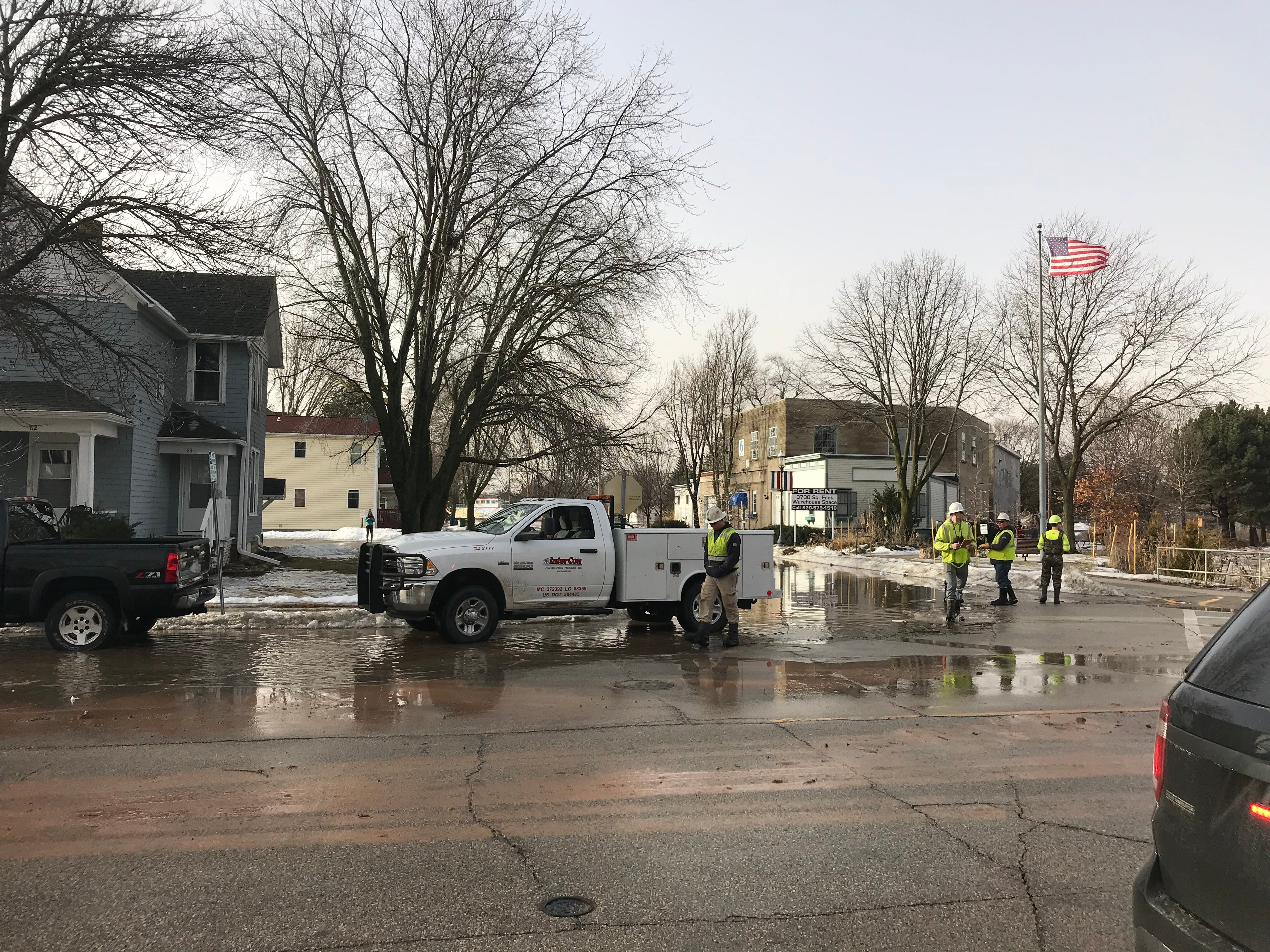Flooding impacts Fond du Lac's downtown area in the vicinity of Western Avenue and West Second Street.