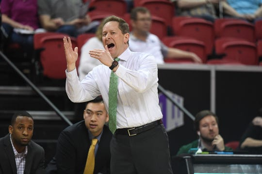 Colorado State basketball coach Niko Medved calls timeout during Wednesday's Mountain West tournament game against Boise State.