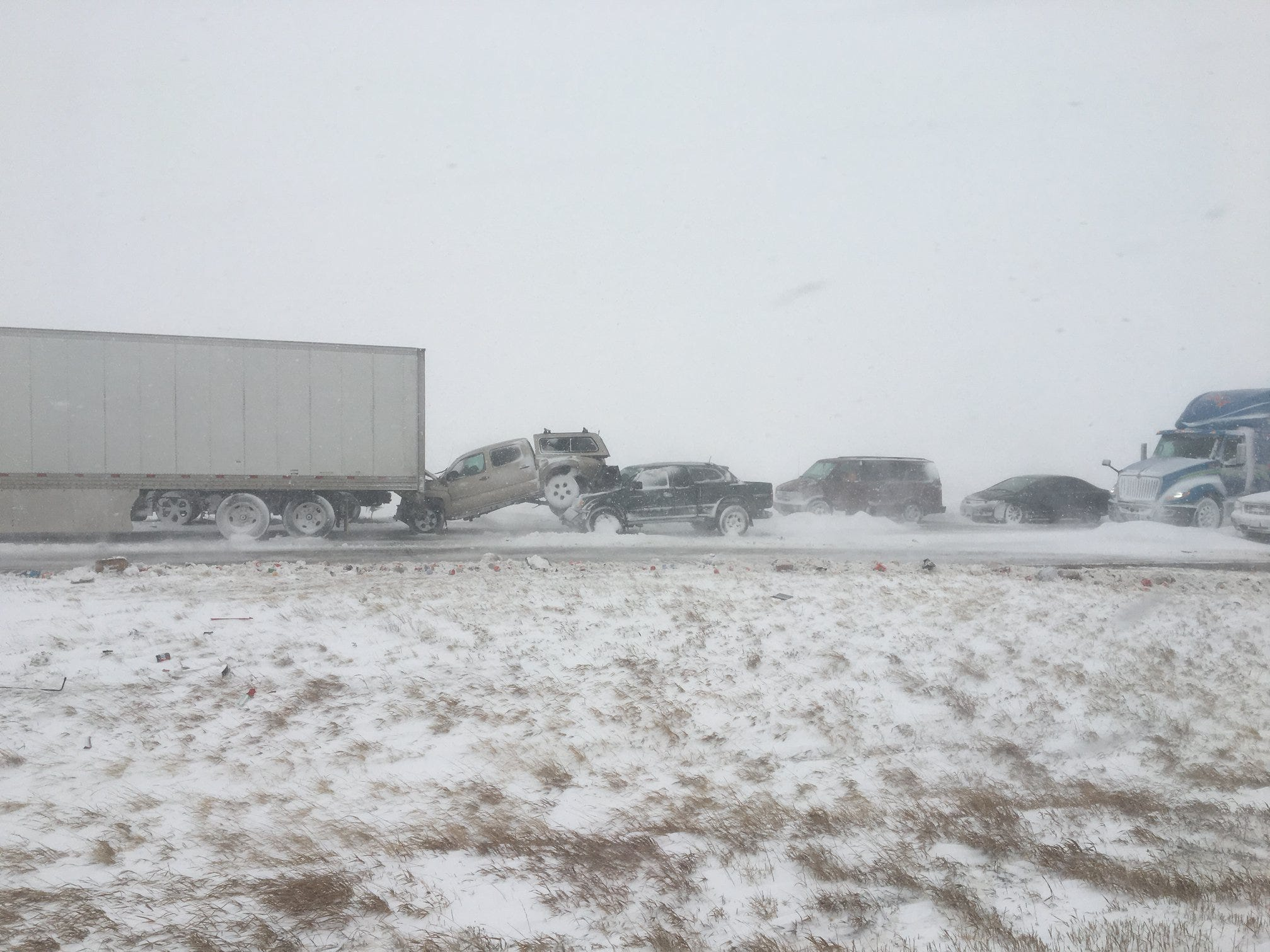 Vehicles were piled up during Wednesday's blizzard on Interstate 25 between Wellington and the Wyoming border.