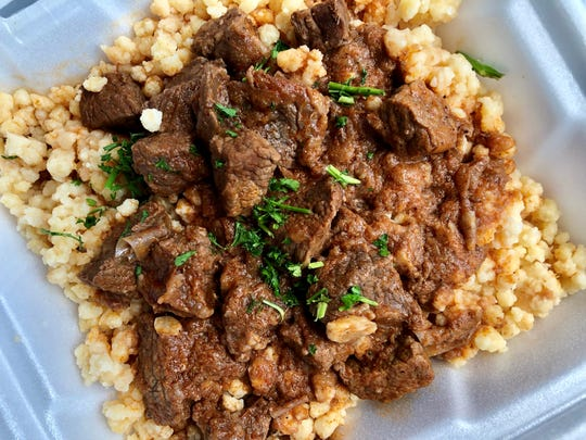 Beef paprikash served over tarhonya, a grated pasta that tastes almost like pearl couscous, from Hungarian Kitchen in North Fort Myers.