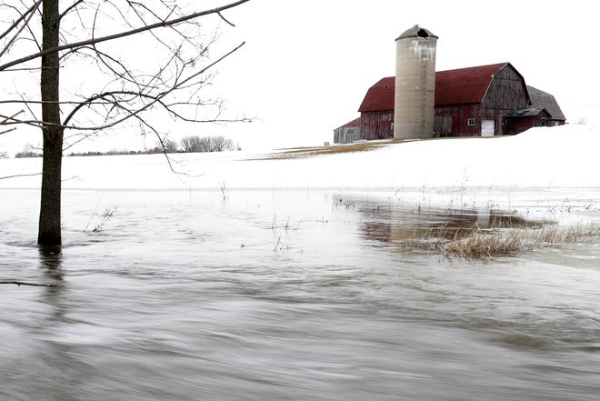 A flooded farm field in Brown County on Thursday.