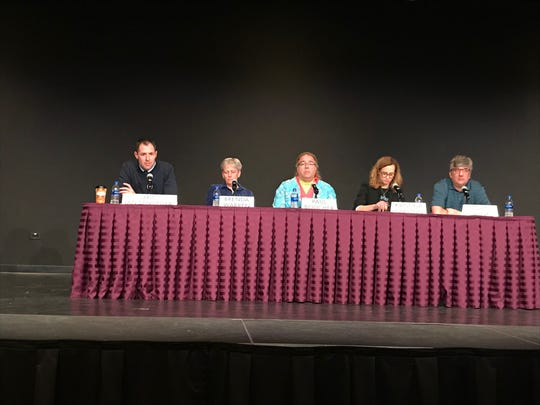 Candidates for the Green Bay School Board Eric Vanden Heuvel, Brenda Warren (i), Paul Boucher, Kristina Shelton (i), and John Jahnke took part in a League of Women Voters of Greater Green Bay forum Wednesday night.