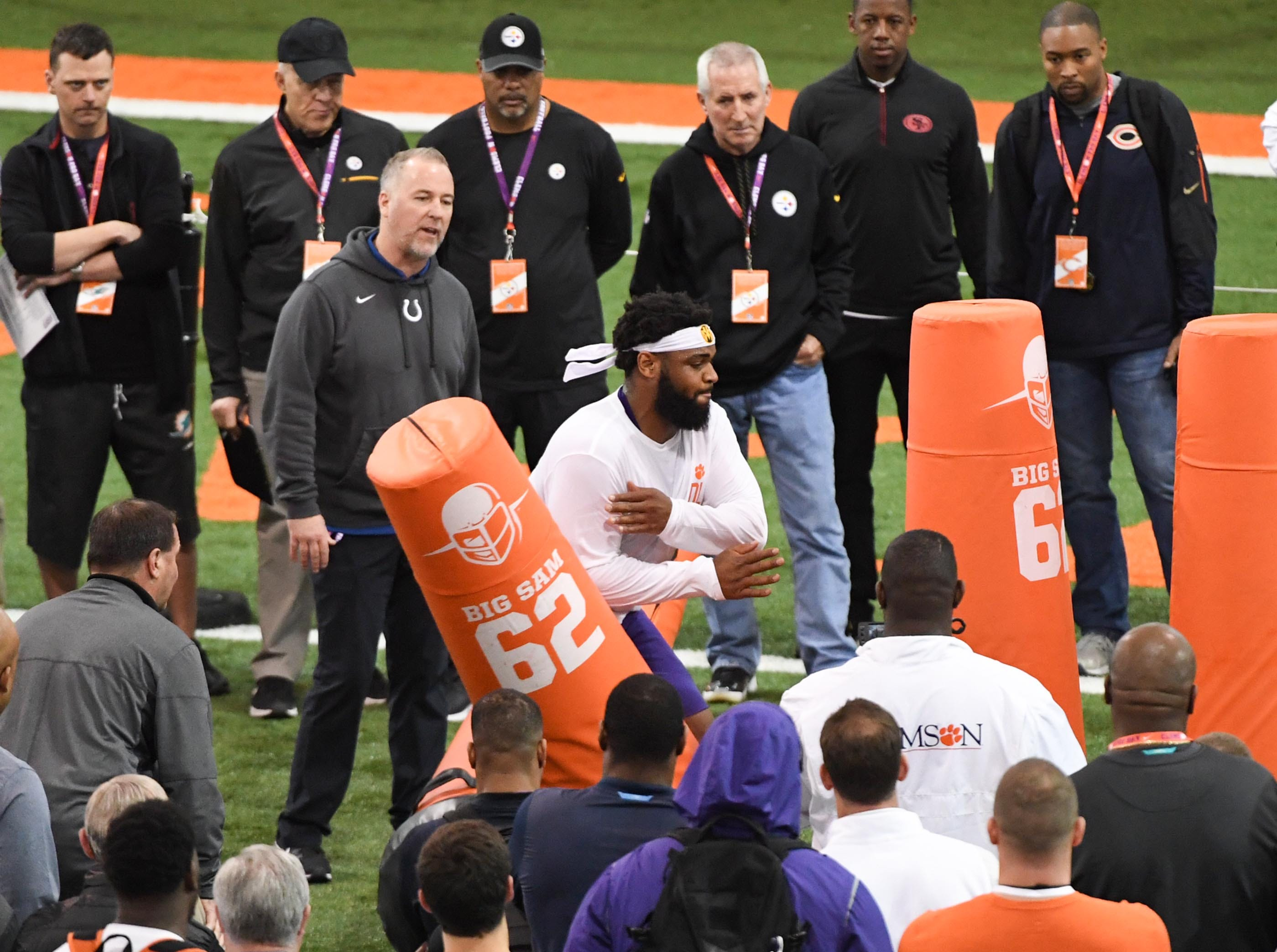 Defensive lineman Christian Wilkins shows skills to scouts during Clemson pro day at the Poe Indoor Facility in Clemson Thursday, March 14, 2019.
