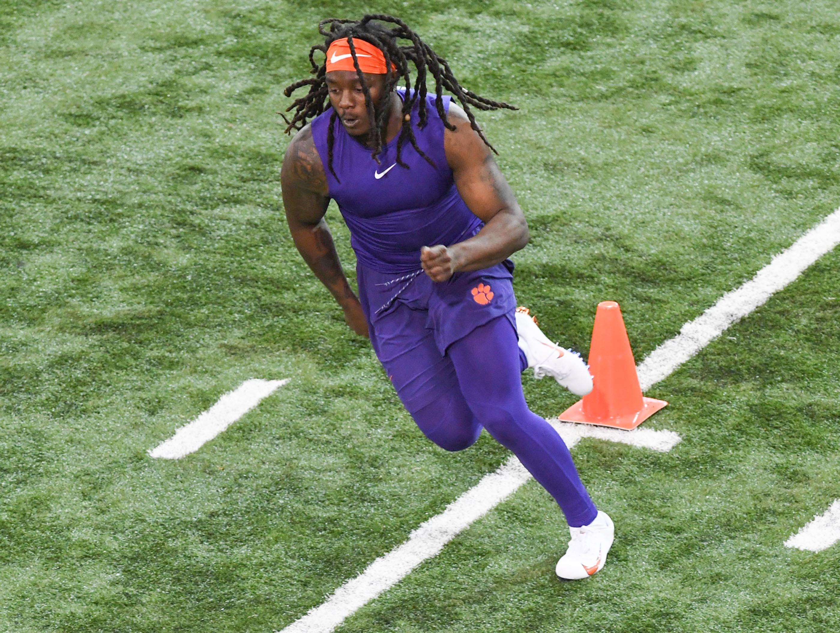 Jalen Williams is timed by scouts during Clemson pro day at the Poe Indoor Facility in Clemson Thursday, March 14, 2019.