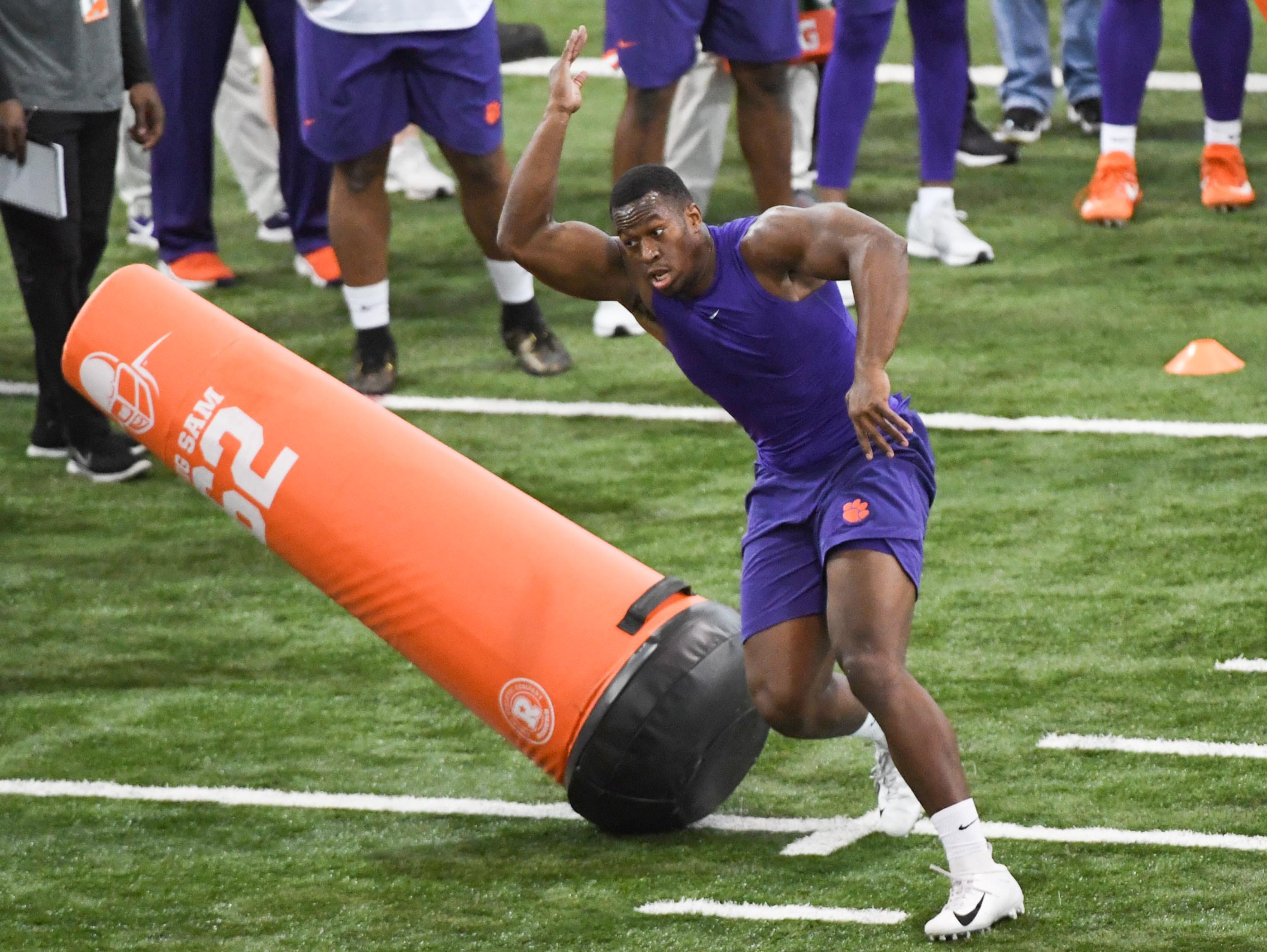 Defender Tre Lamar III shows skills to scouts during Clemson pro day at the Poe Indoor Facility in Clemson Thursday, March 14, 2019.