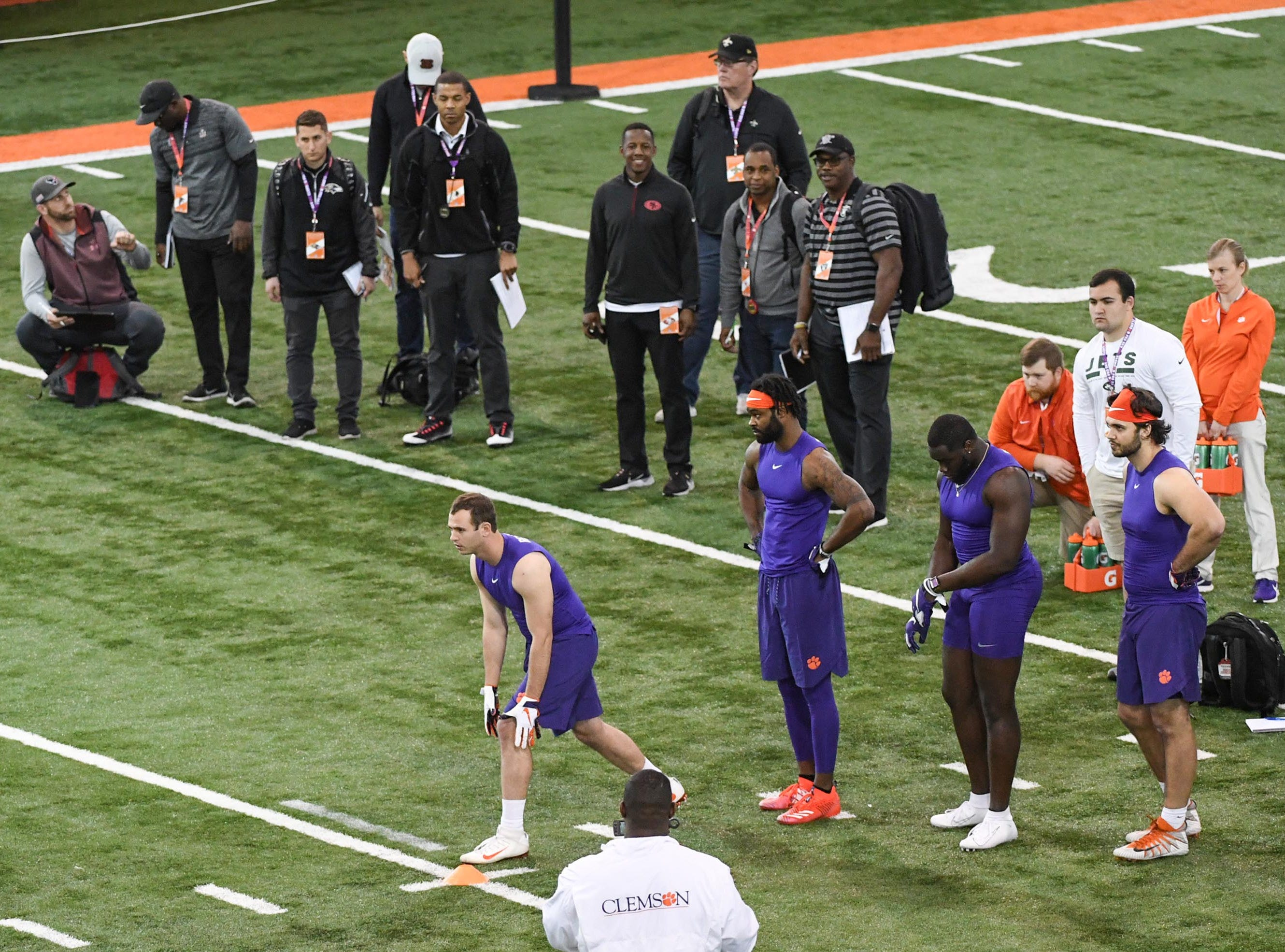 Wide receiver Hunter Renfrow lines up for a route during Clemson pro day at the Poe Indoor Facility in Clemson Thursday, March 14, 2019.