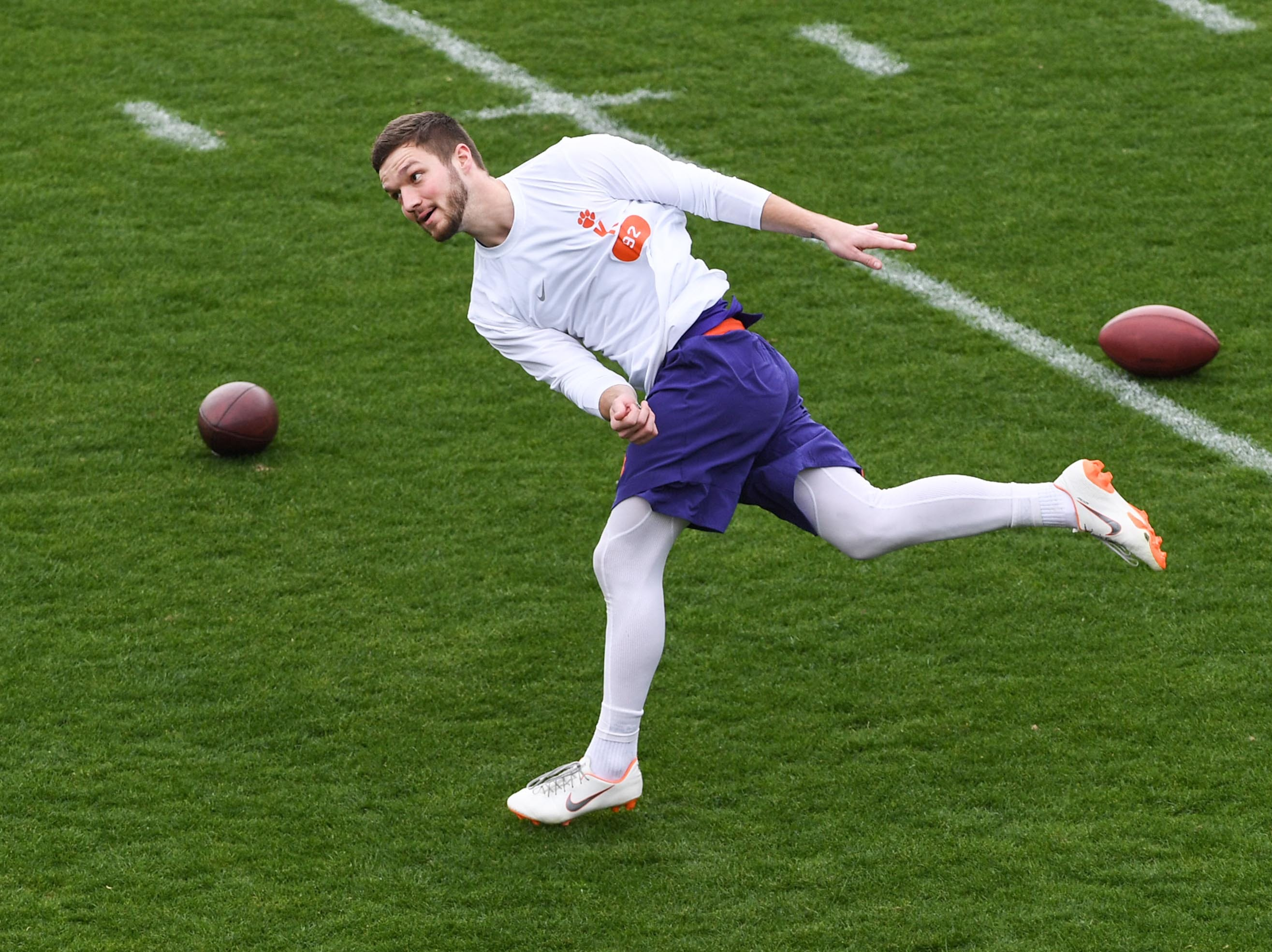 Kicker Greg Huegel kicks for scouts during Clemson pro day at the Poe Indoor Facility in Clemson Thursday, March 14, 2019.