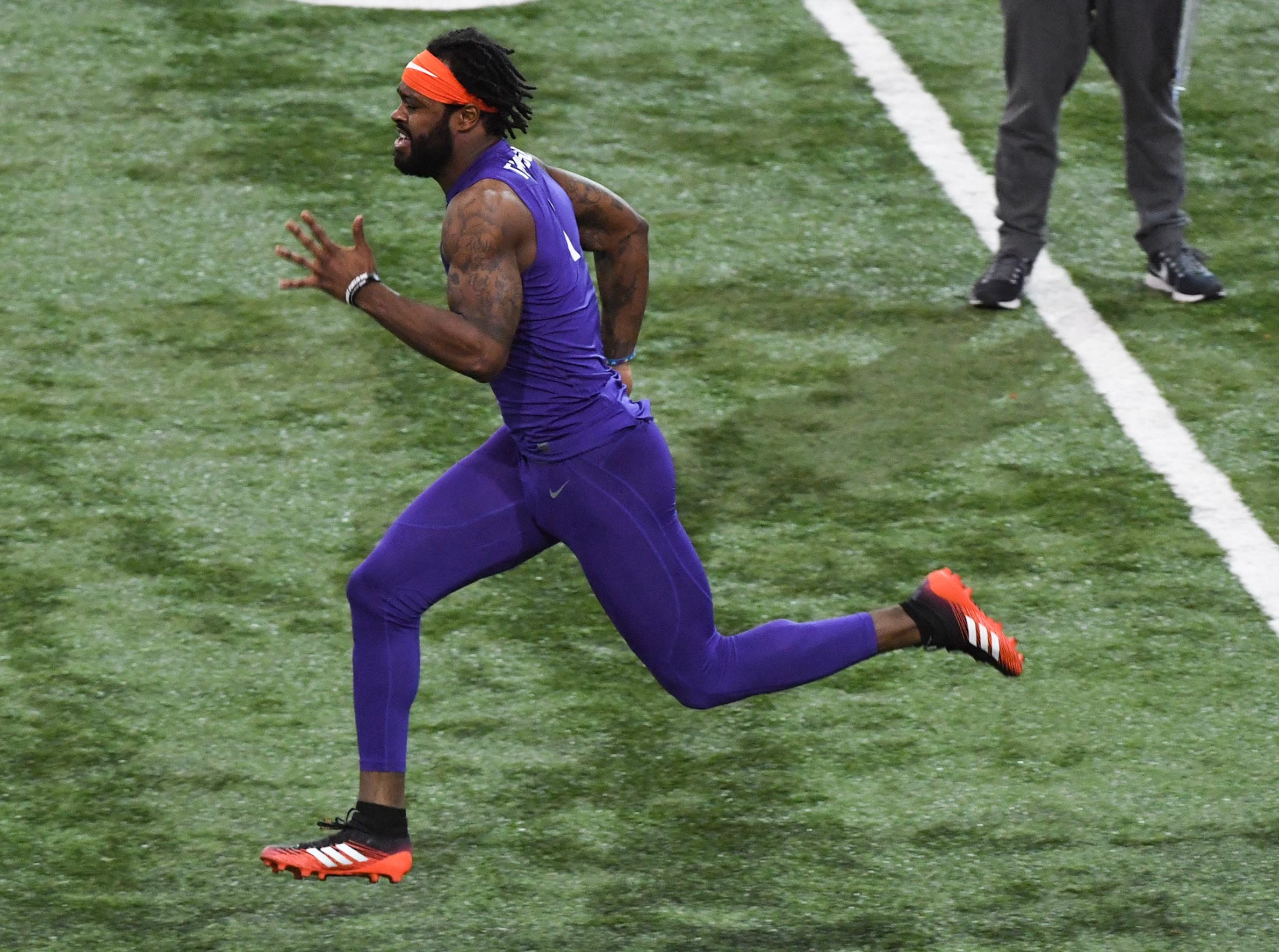 Wide receiver Trevion Thompson is timed by scouts during Clemson pro day at the Poe Indoor Facility in Clemson Thursday, March 14, 2019.