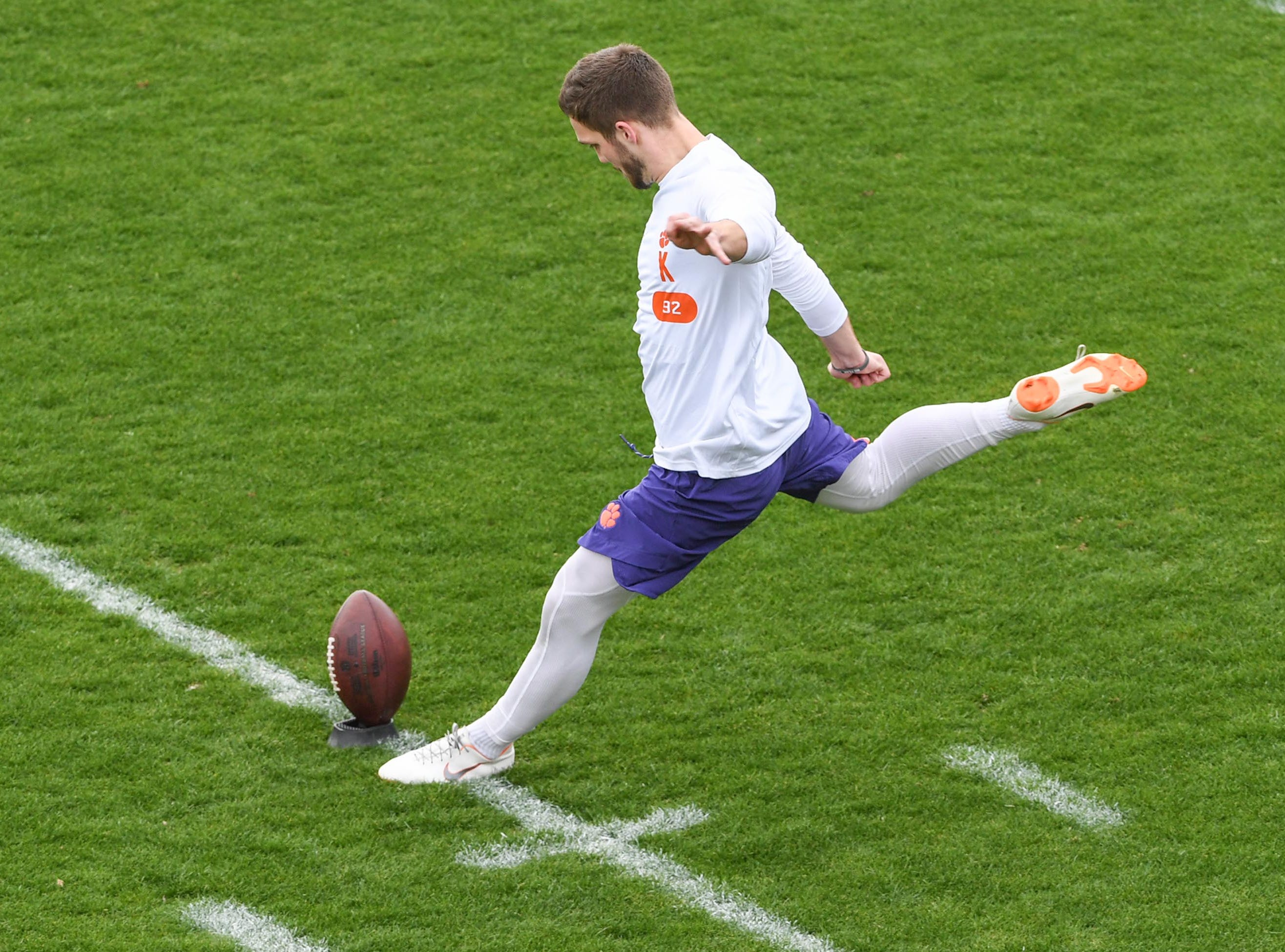 Kicker Greg Huegel during Clemson pro day at the Poe Indoor Facility in Clemson Thursday, March 14, 2019.