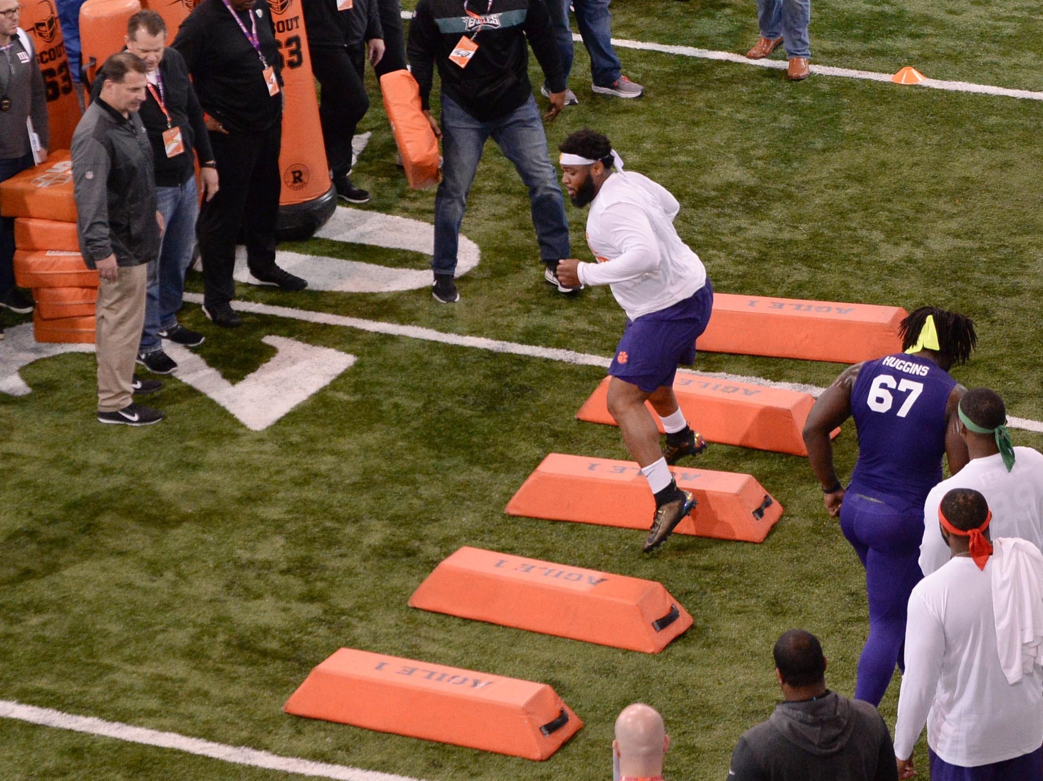 Defensive lineman Christian Wilkins runs during Clemson pro day at the Poe Indoor Facility in Clemson Thursday, March 14, 2019.