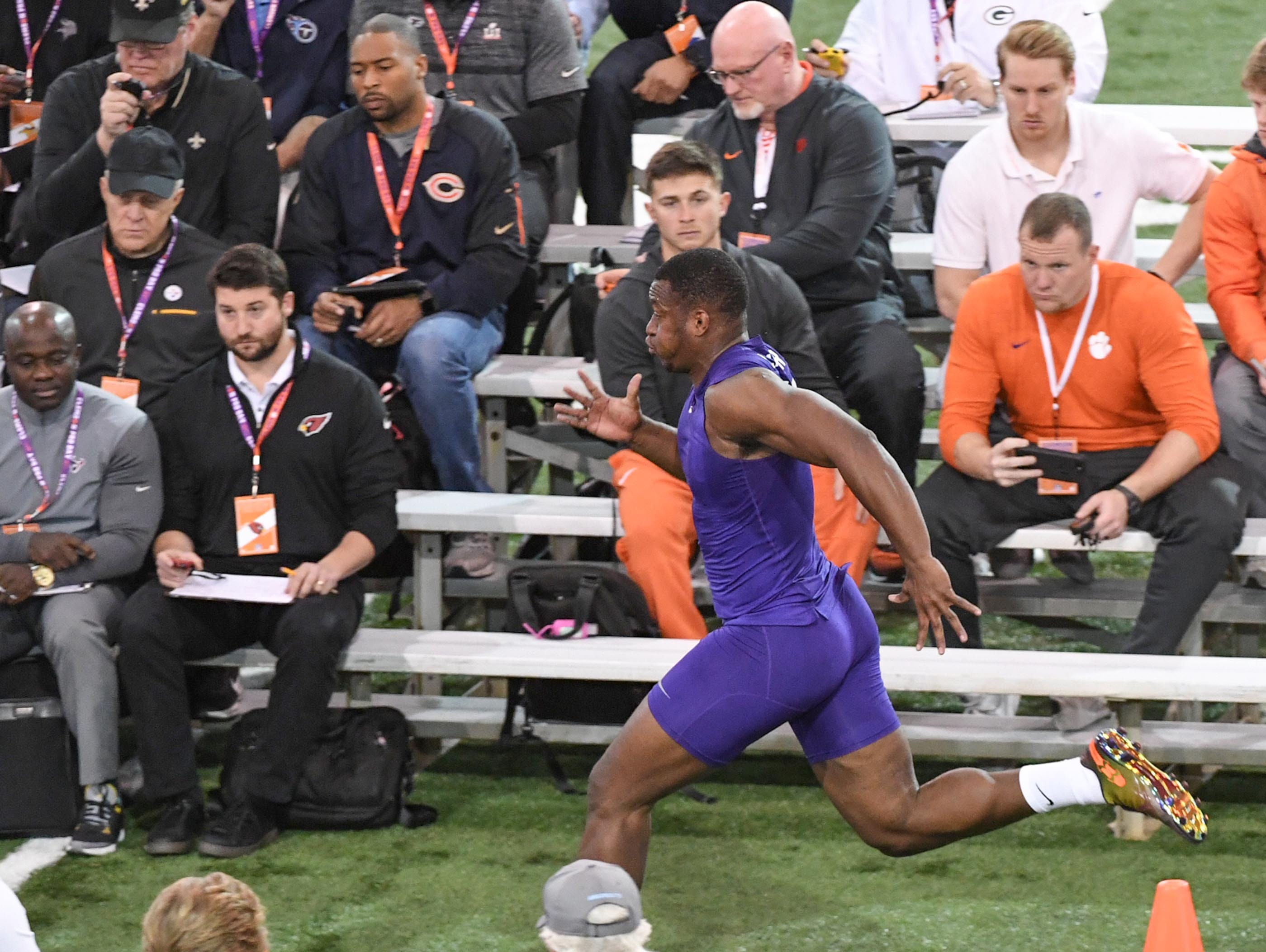 Defender Tre Lamar III during Clemson pro day at the Poe Indoor Facility in Clemson Thursday, March 14, 2019.