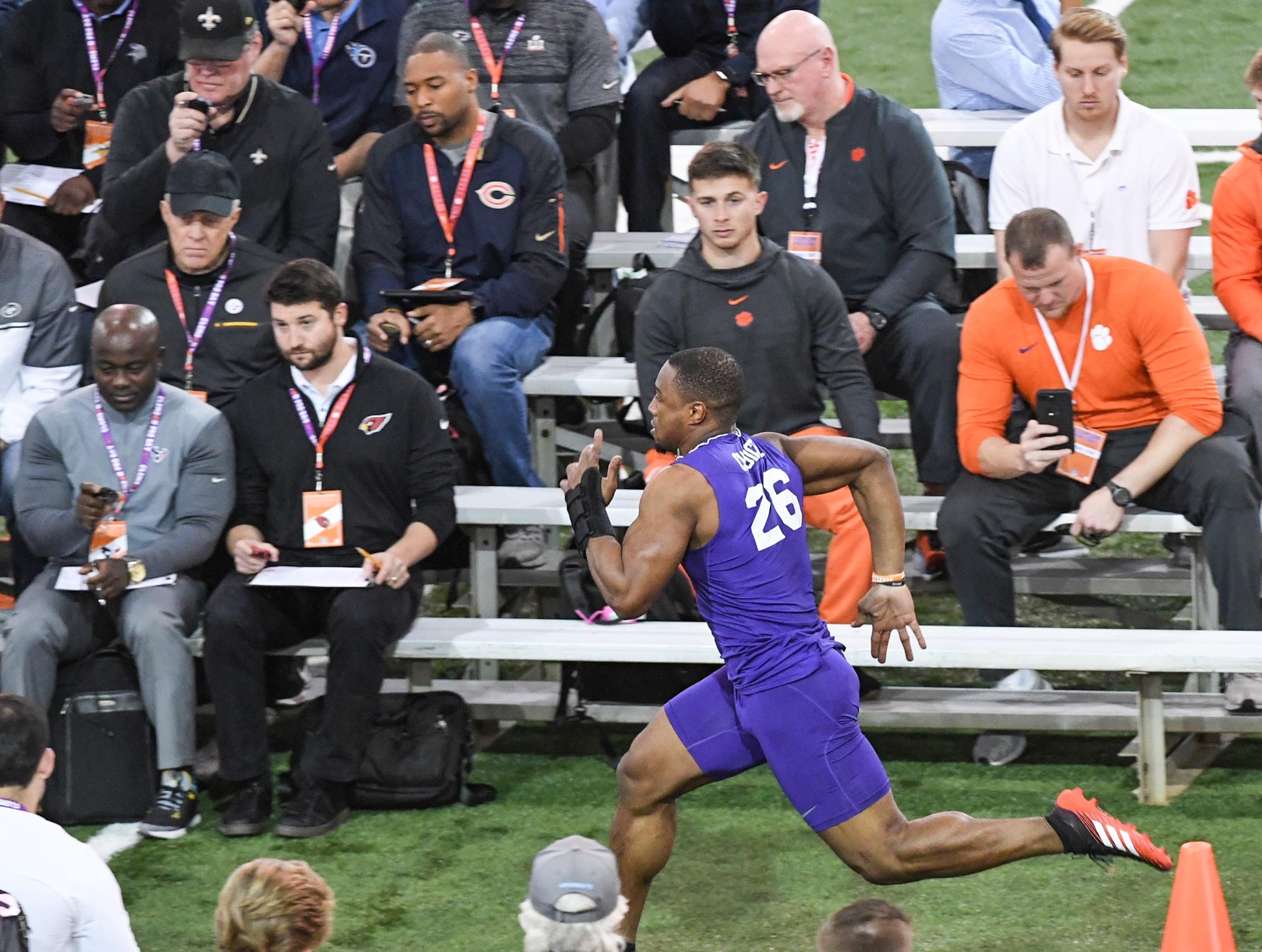 Running back Adam Choice runs a 4.44 40-yard dash during Clemson pro day at the Poe Indoor Facility in Clemson Thursday, March 14, 2019.