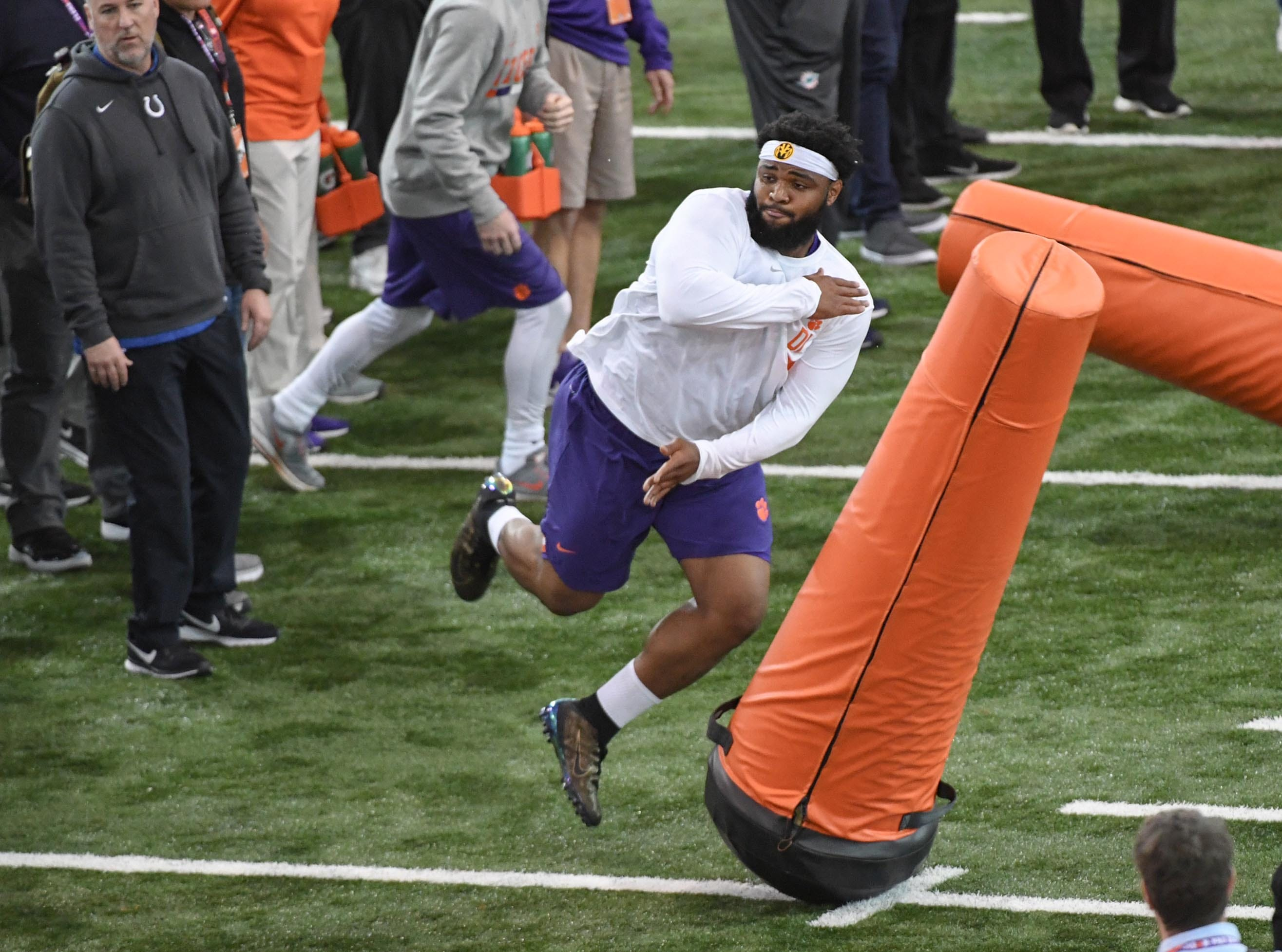 Defensive lineman Christian Wilkins in a drill during Clemson pro day at the Poe Indoor Facility in Clemson Thursday, March 14, 2019.