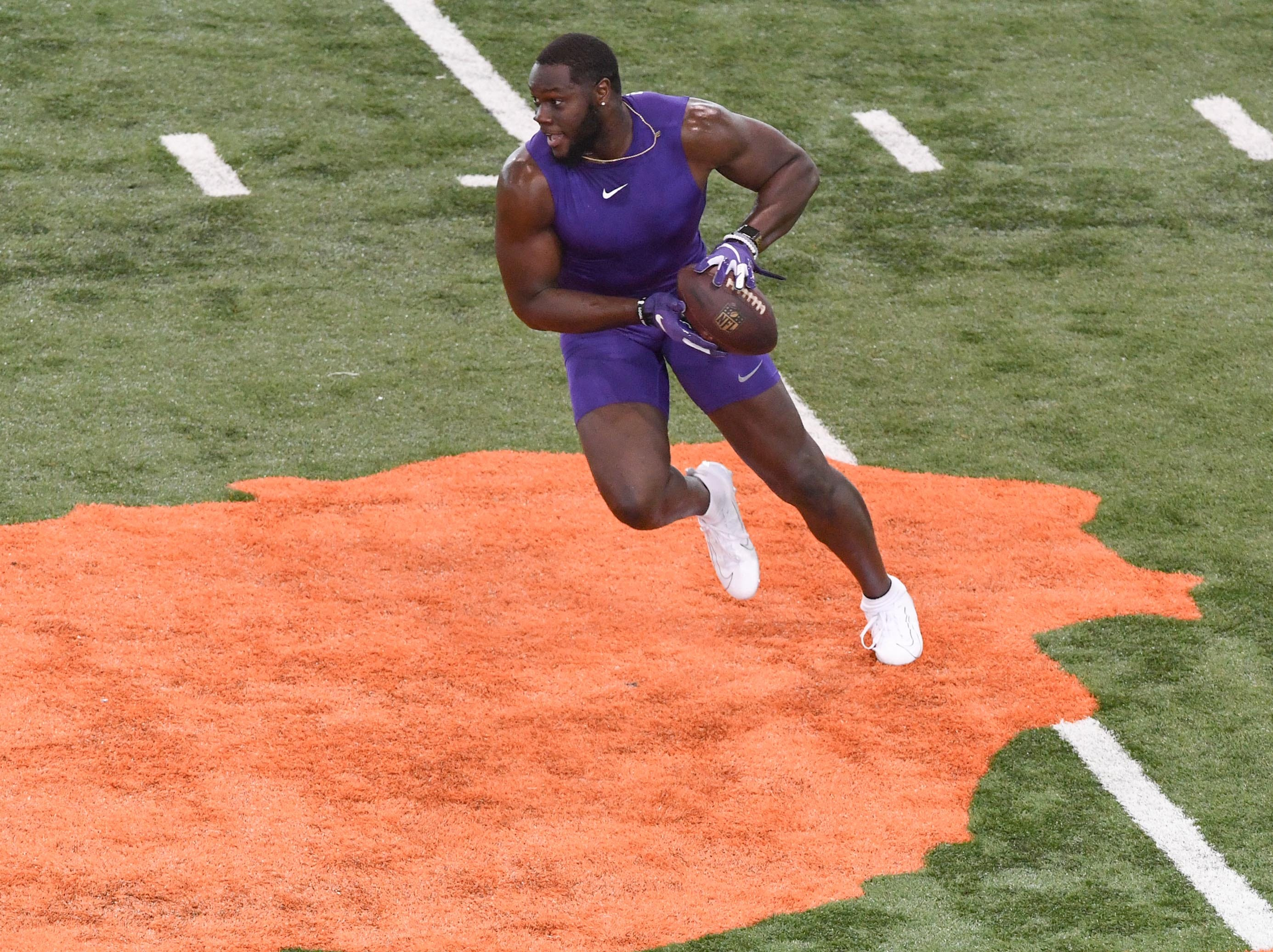 Tight end Milan Richard during Clemson pro day at the Poe Indoor Facility in Clemson Thursday, March 14, 2019.