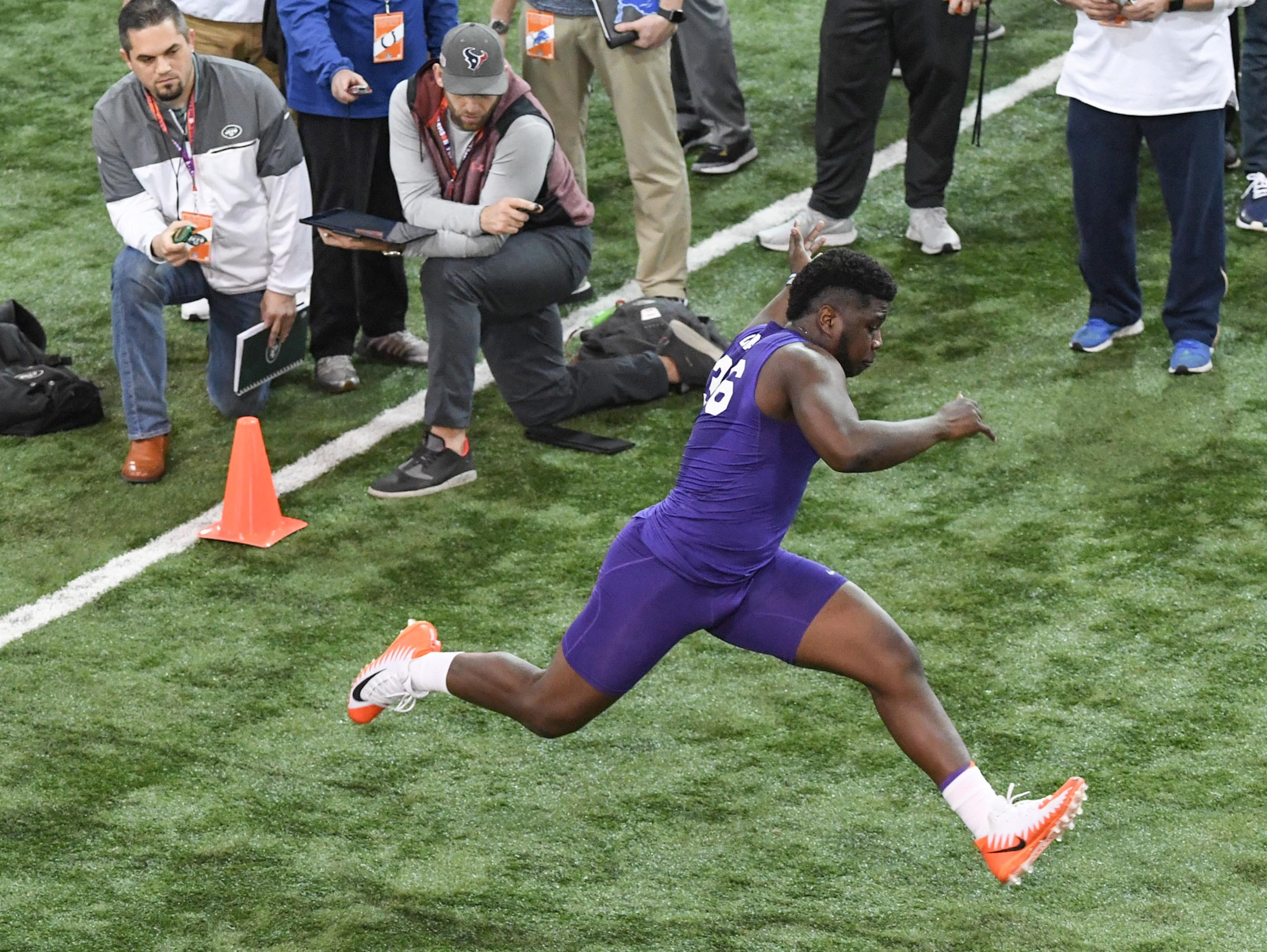 Linebacker Judah Davis runs during Clemson pro day at the Poe Indoor Facility in Clemson Thursday, March 14, 2019.