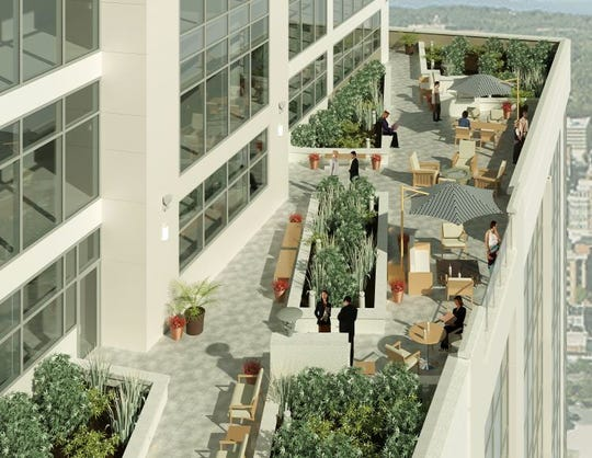 A terrace would be featured on the 10th floor of Falls Tower in the Camperdown development.