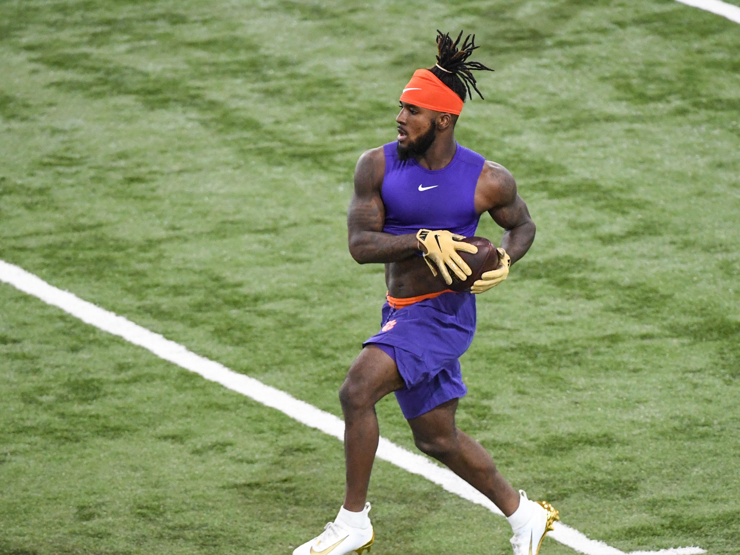 Cornerback Mark Field II catches a ball during Clemson pro day at the Poe Indoor Facility in Clemson Thursday, March 14, 2019.