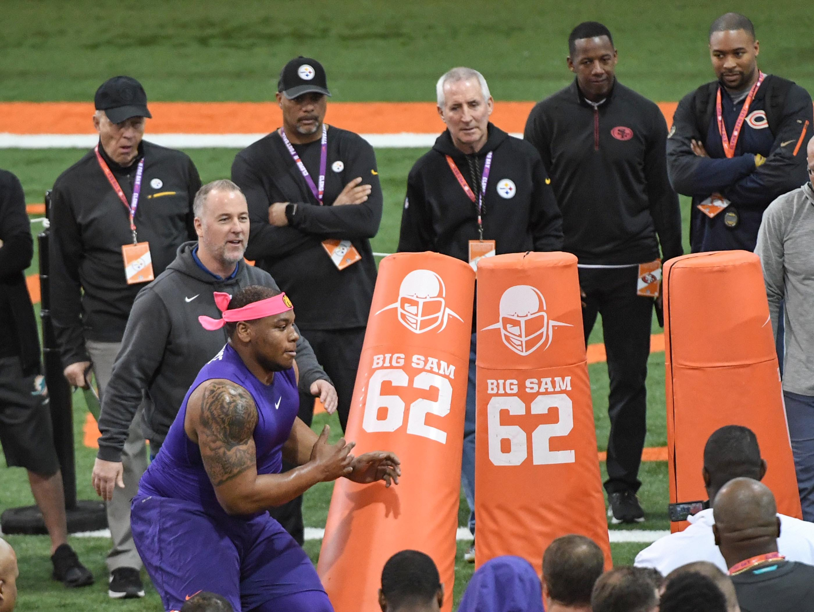 Defensive lineman Dexter Lawrence during Clemson pro day at the Poe Indoor Facility in Clemson Thursday, March 14, 2019.