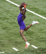 Cornerback Trayvon Mullen Jr. catches a ball in a drill during Clemson pro day at the Poe Indoor Facility in Clemson Thursday, March 14, 2019.