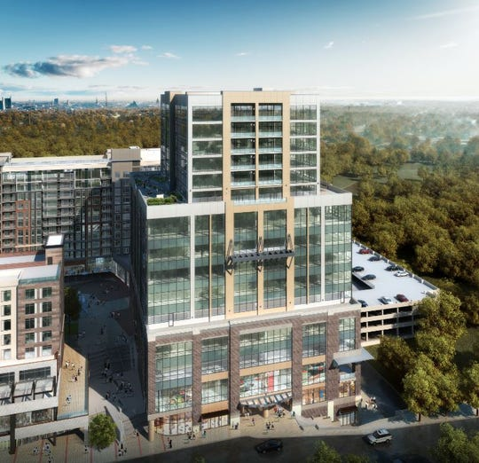 The Falls Tower building as part of the Camperdown development will be 17 stories tall and will feature mostly office space with condos on top overlooking Falls Park.