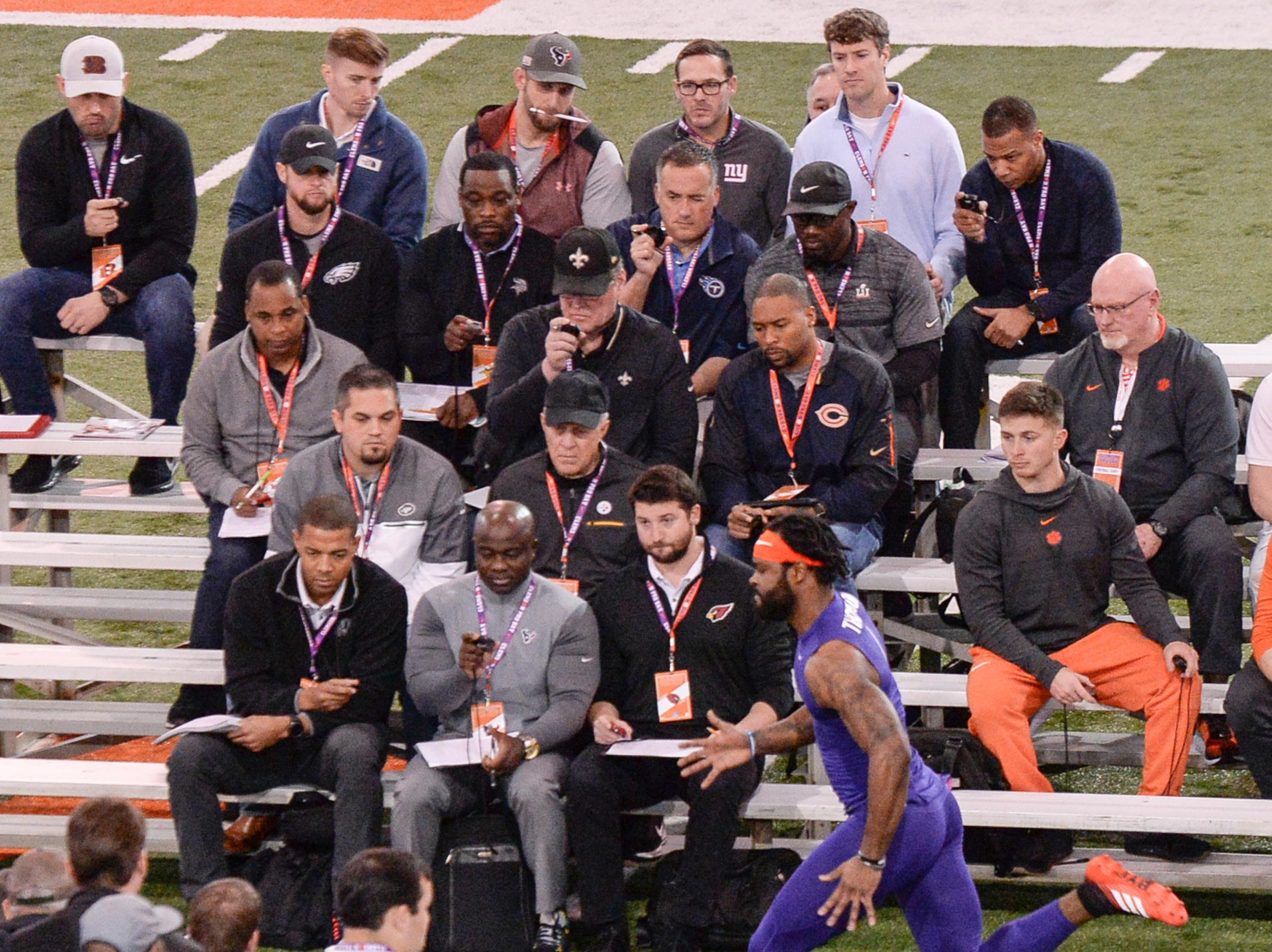 Wide receiver Trevion Thompson runs the 40-yard dash during Clemson pro day at the Poe Indoor Facility in Clemson Thursday, March 14, 2019.