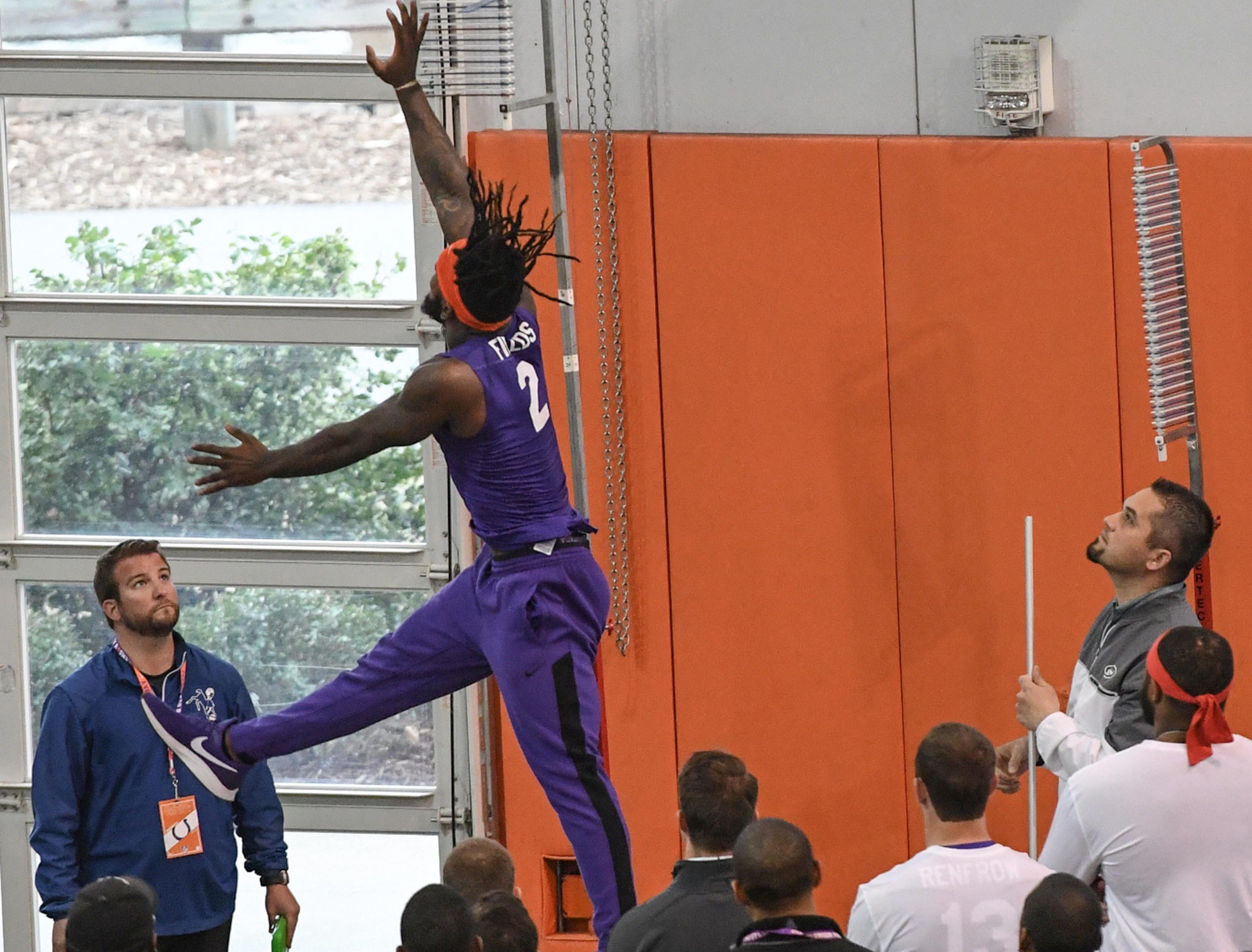 Cornerback Mark Field II leaps 31.5 inches in a vertical leap test during Clemson pro day at the Poe Indoor Facility in Clemson Thursday, March 14, 2019.